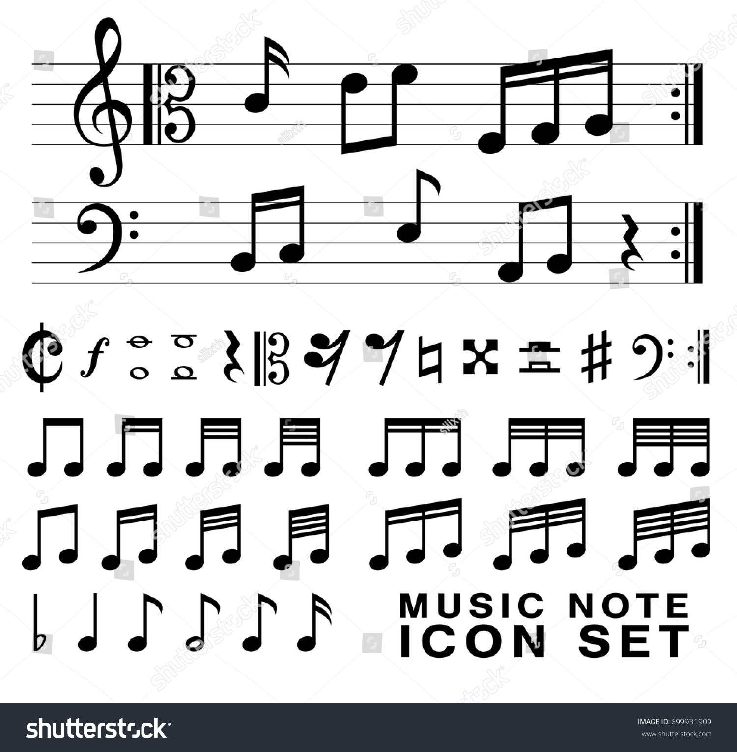 Standard Music Notes Symbol Set Vector Stock Vector 699931909