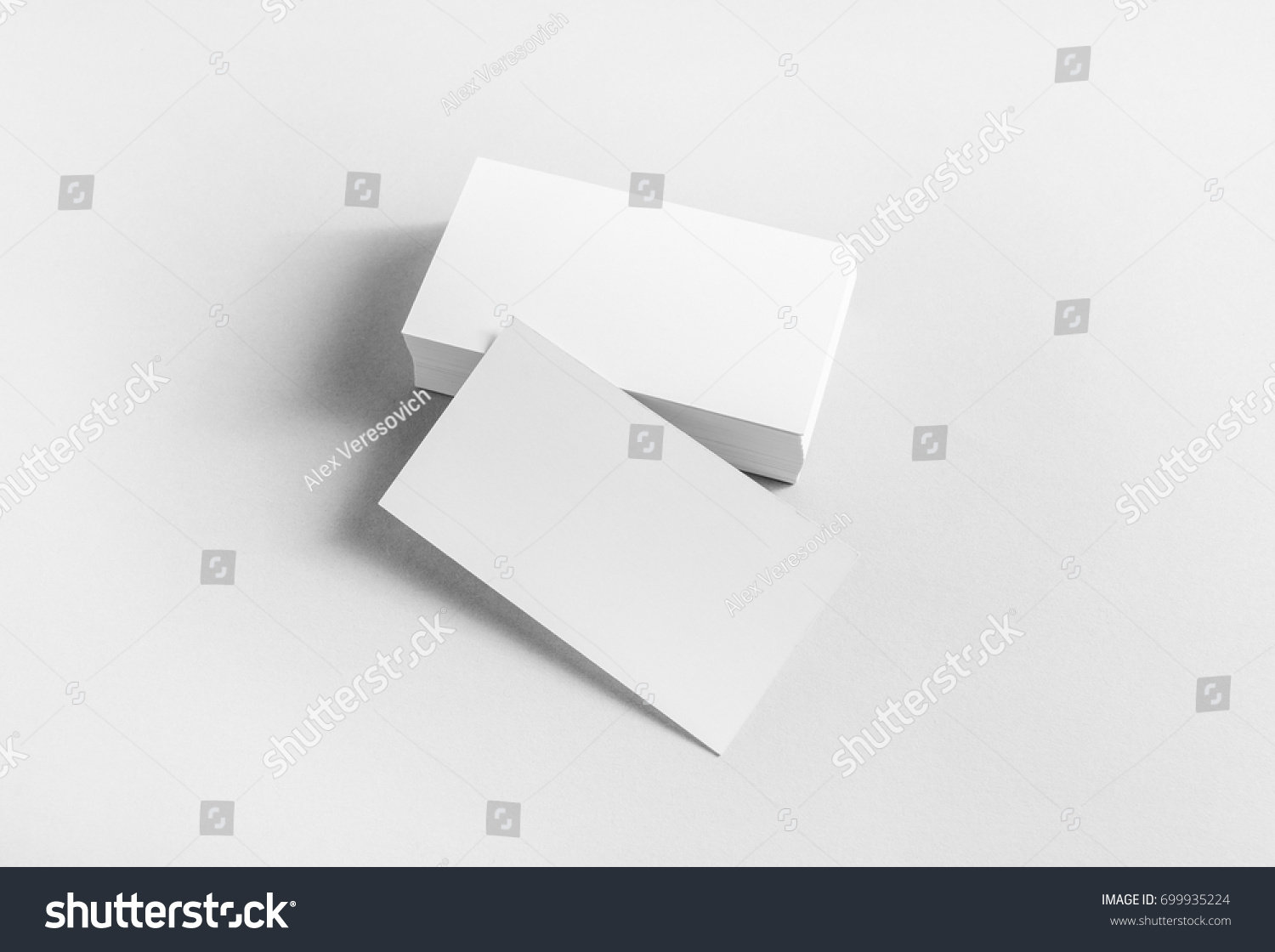 Blank Business Cards On Paper Background Stock Photo 699935224 ...