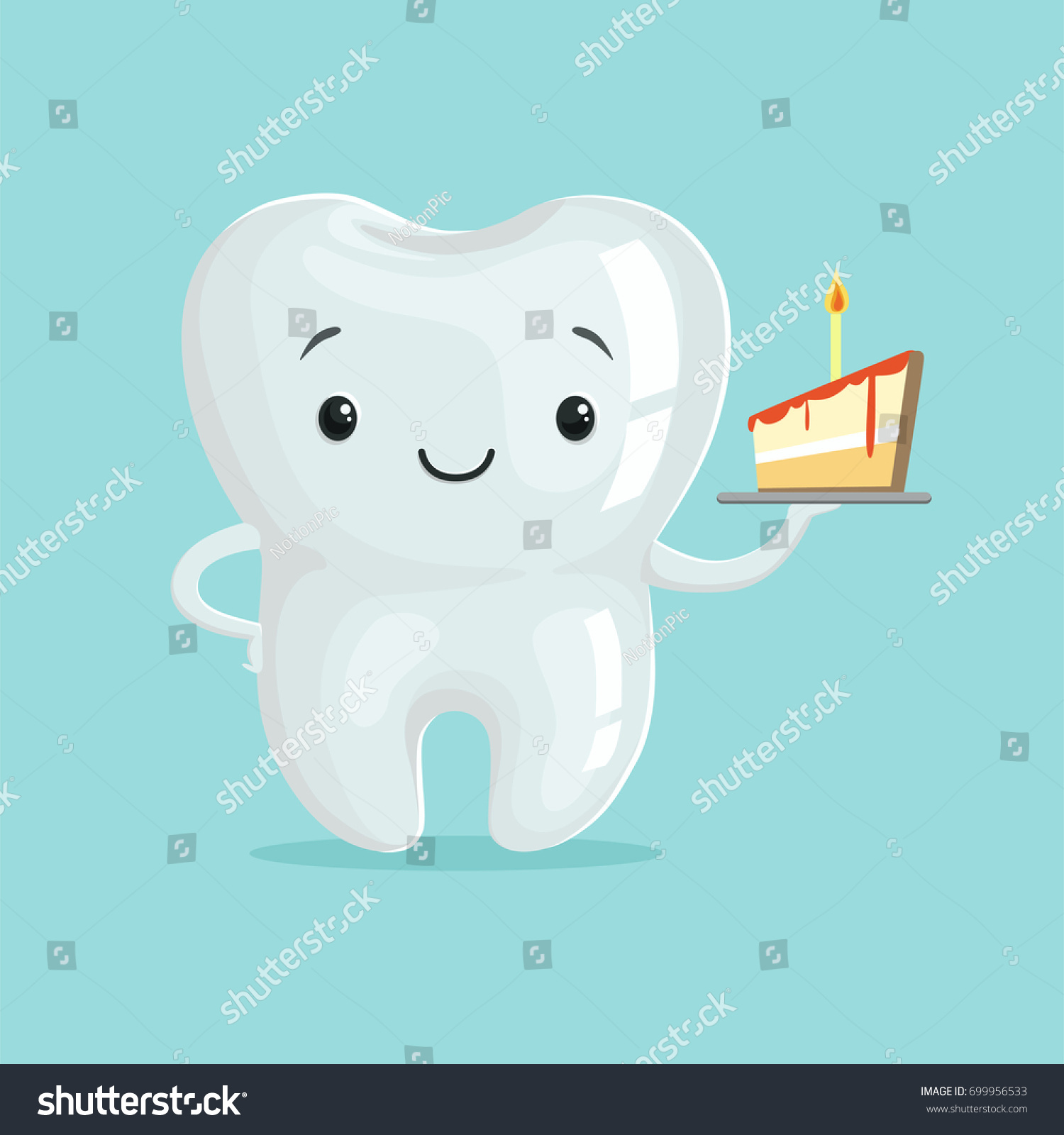 cute healthy white cartoon tooth character stock vector 699956533