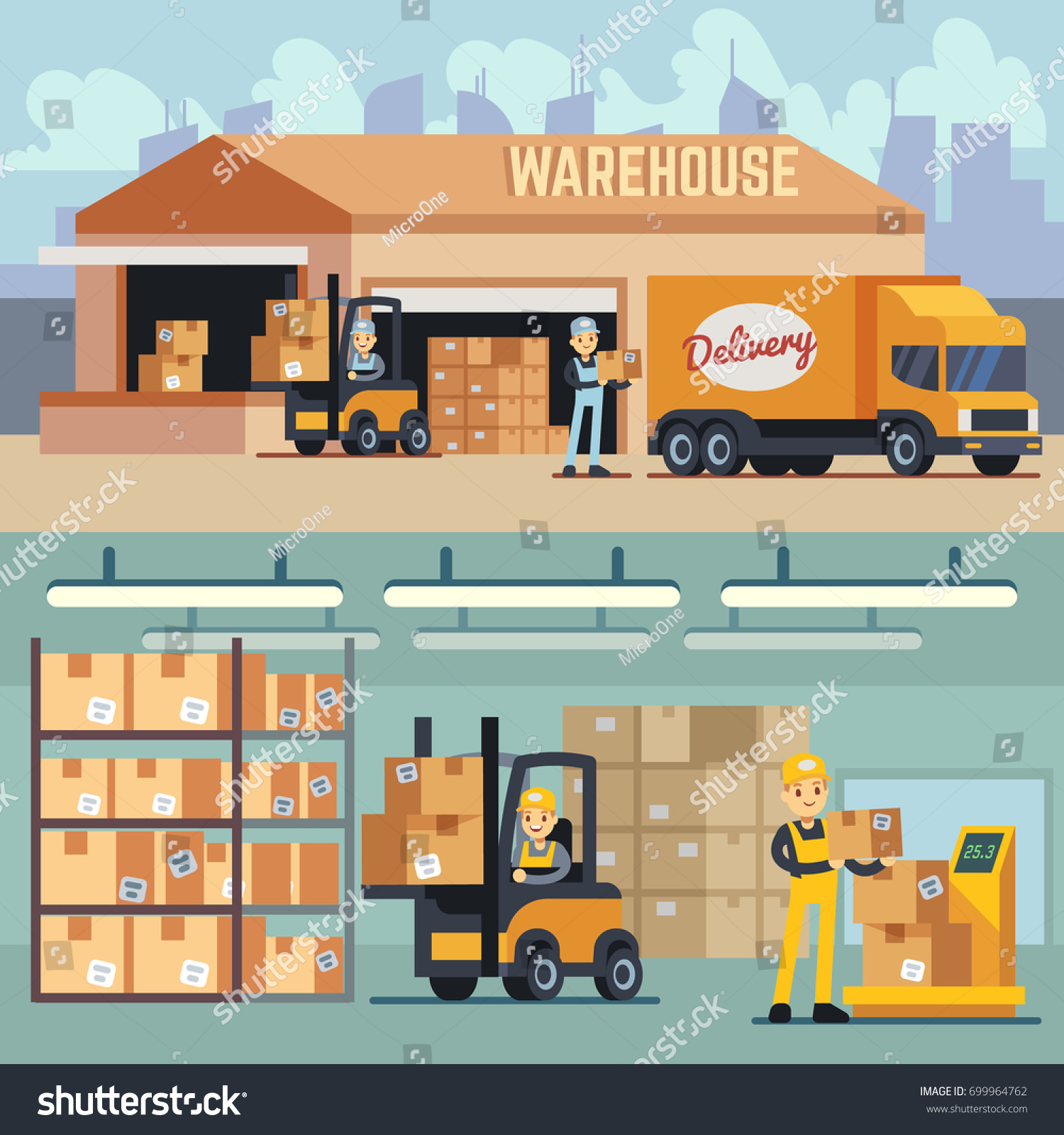 Warehouse Storage And Shipping Logistics Vector Concept. Storage And  Transportation Cargo, Delivery And Shipping