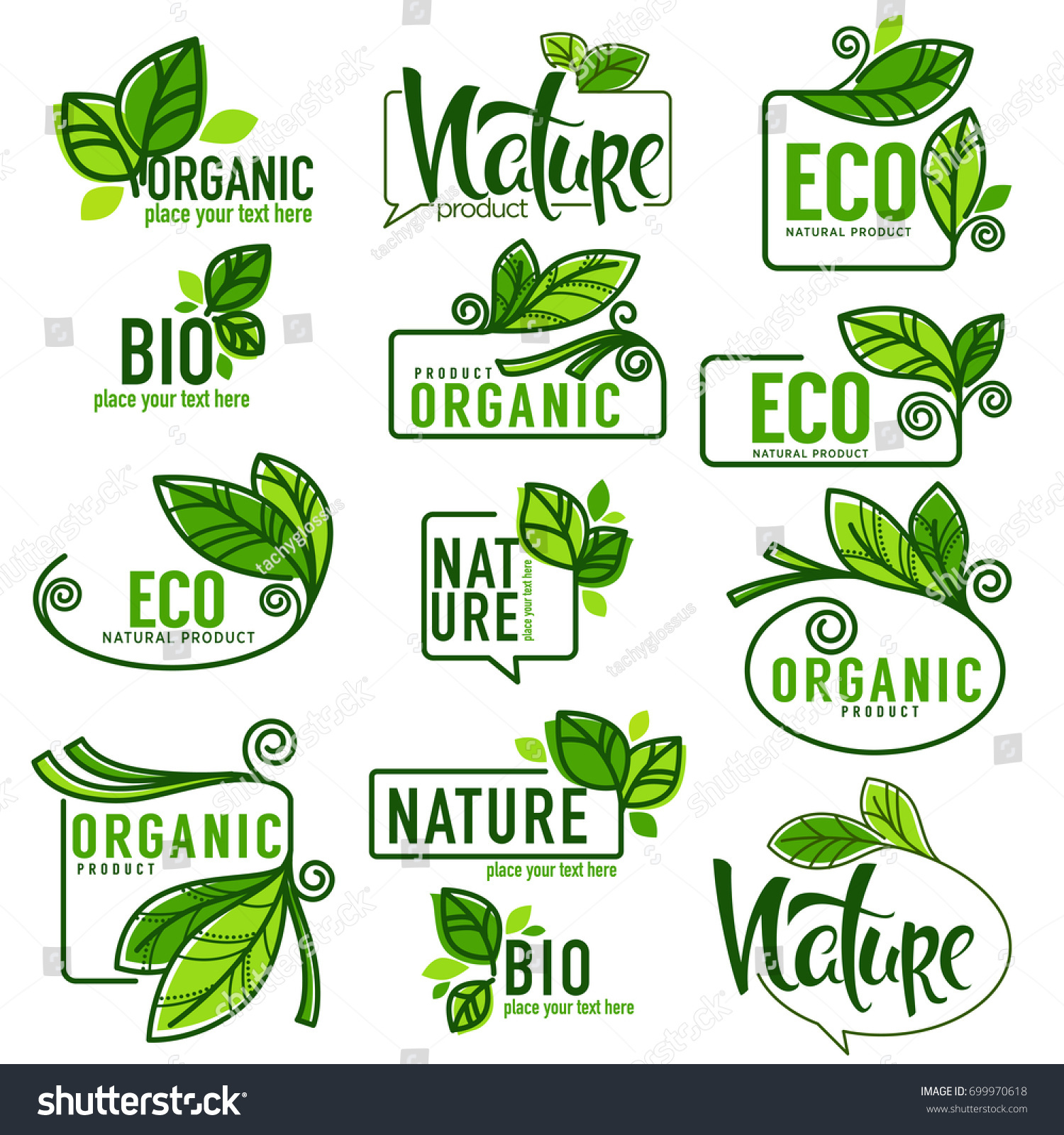 Large Vector Collection Doodle Eco Bio Stock Vector 699970618 ...