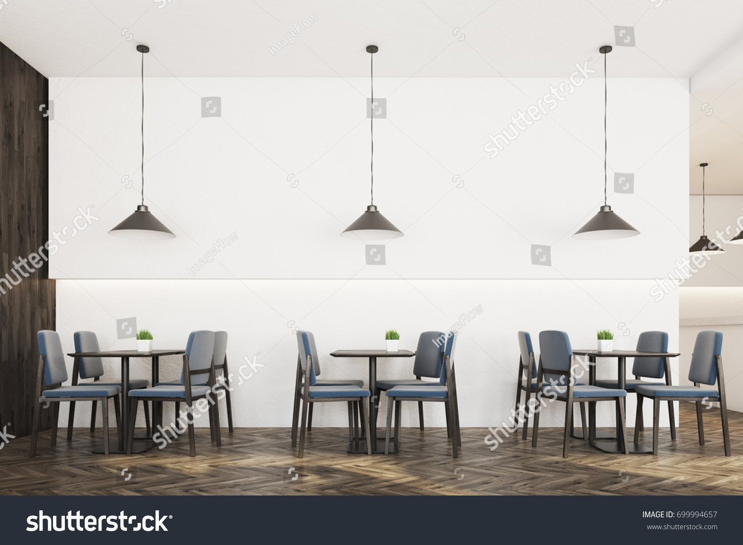 Modern cafe chairs and tables - Modern Cafe Interior With White And Wooden Walls A Wooden Floor Square Tables Surrounded