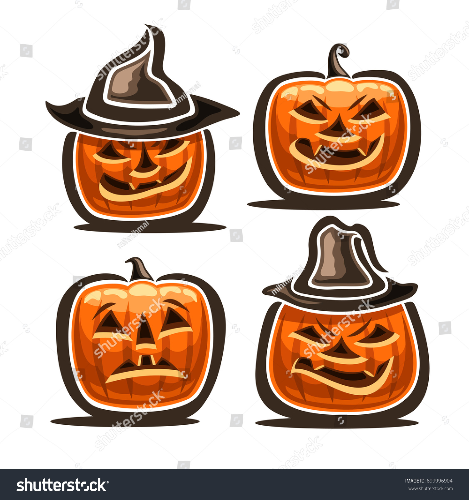 vector set halloween pumpkins 4 orange stock vector (royalty free