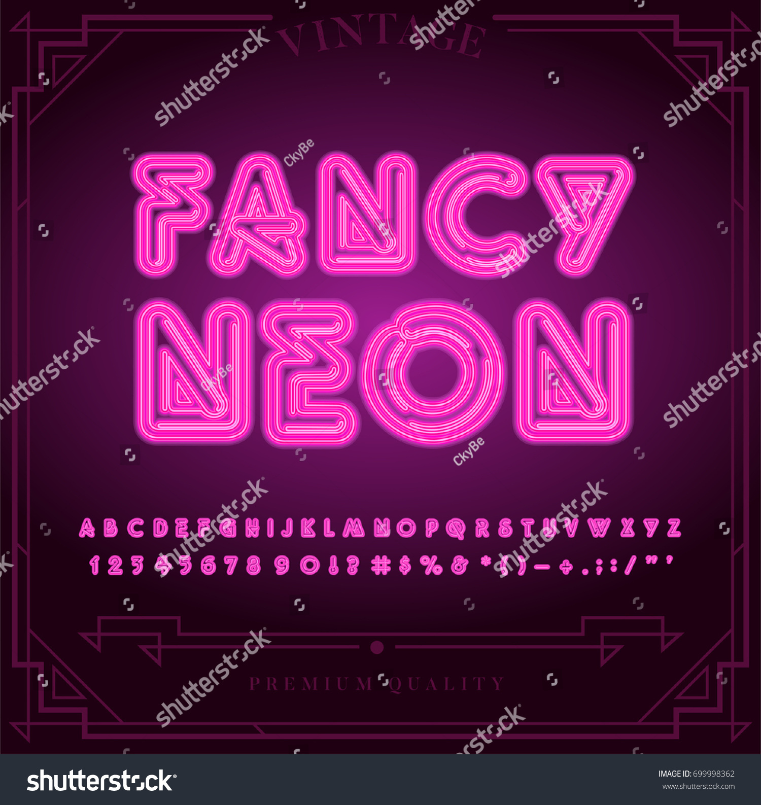 Bright Neon Alphabet Letters Numbers Symbols Stock Vector Royalty