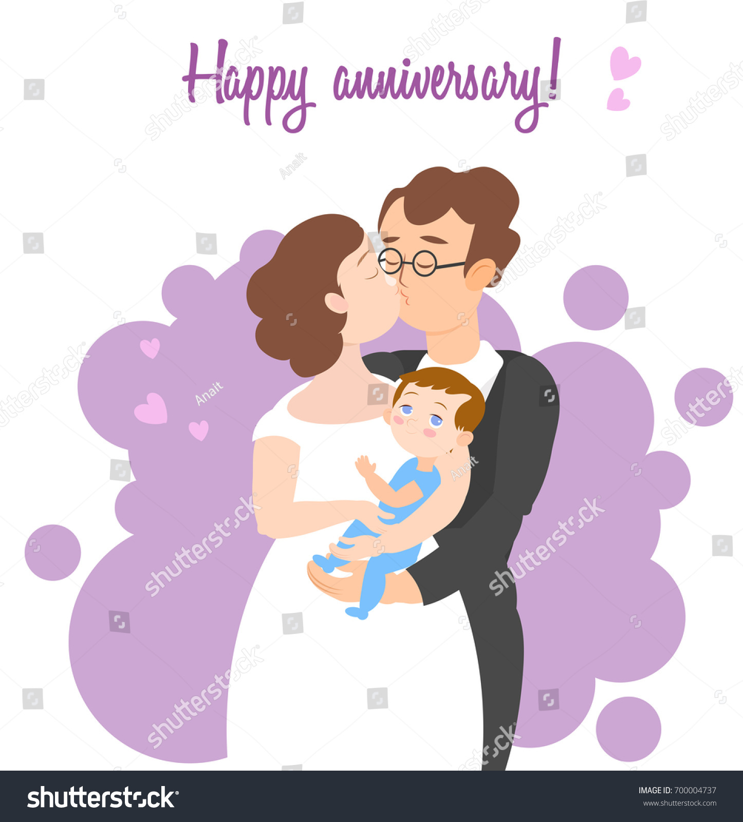 Happy Anniversary Greeting Card Loving Married Stock Vector