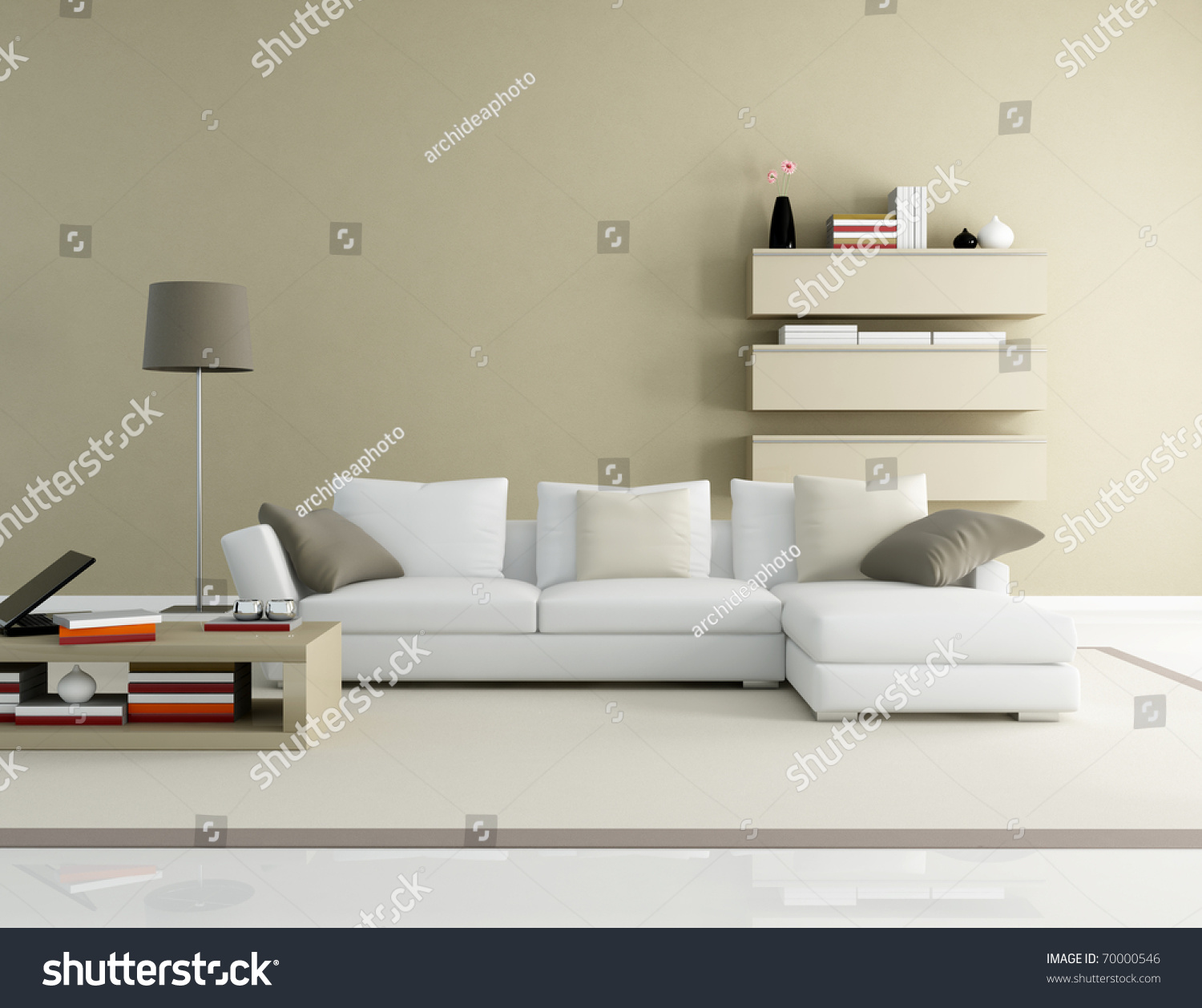 Brown And Beige Modern Living Room   Rendering Part 46