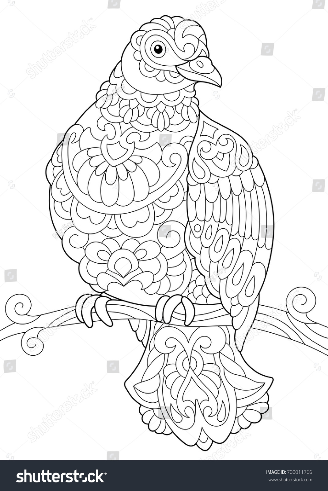 Coloring Page Of Dove Pigeon Bird Sitting On Tree Branch Freehand Sketch Drawing