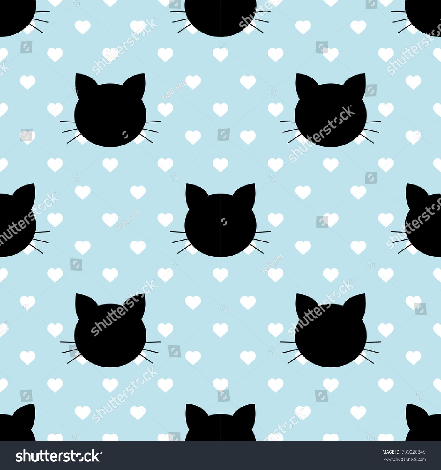Seamless Pattern Black Heads Cats Cartoon Stock Vector Royalty Free