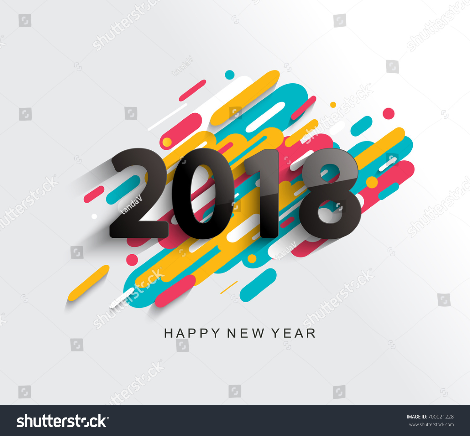 creative happy new year 2018 card on modern background vector illustration
