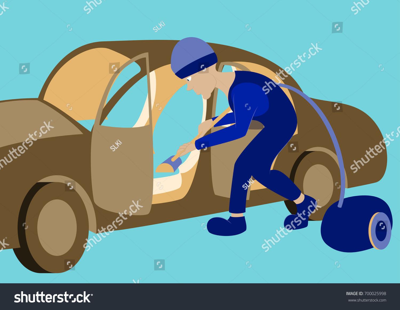 cleaning car interior vector illustration worker stock vector 700025998 shutterstock. Black Bedroom Furniture Sets. Home Design Ideas