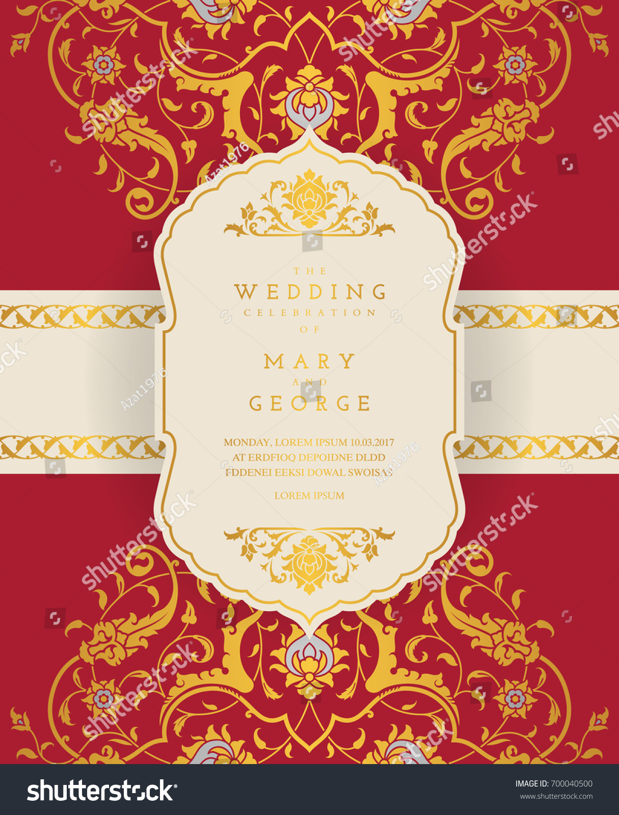 Vintage Wedding Invitation Card Template Floral Stock Vector ...