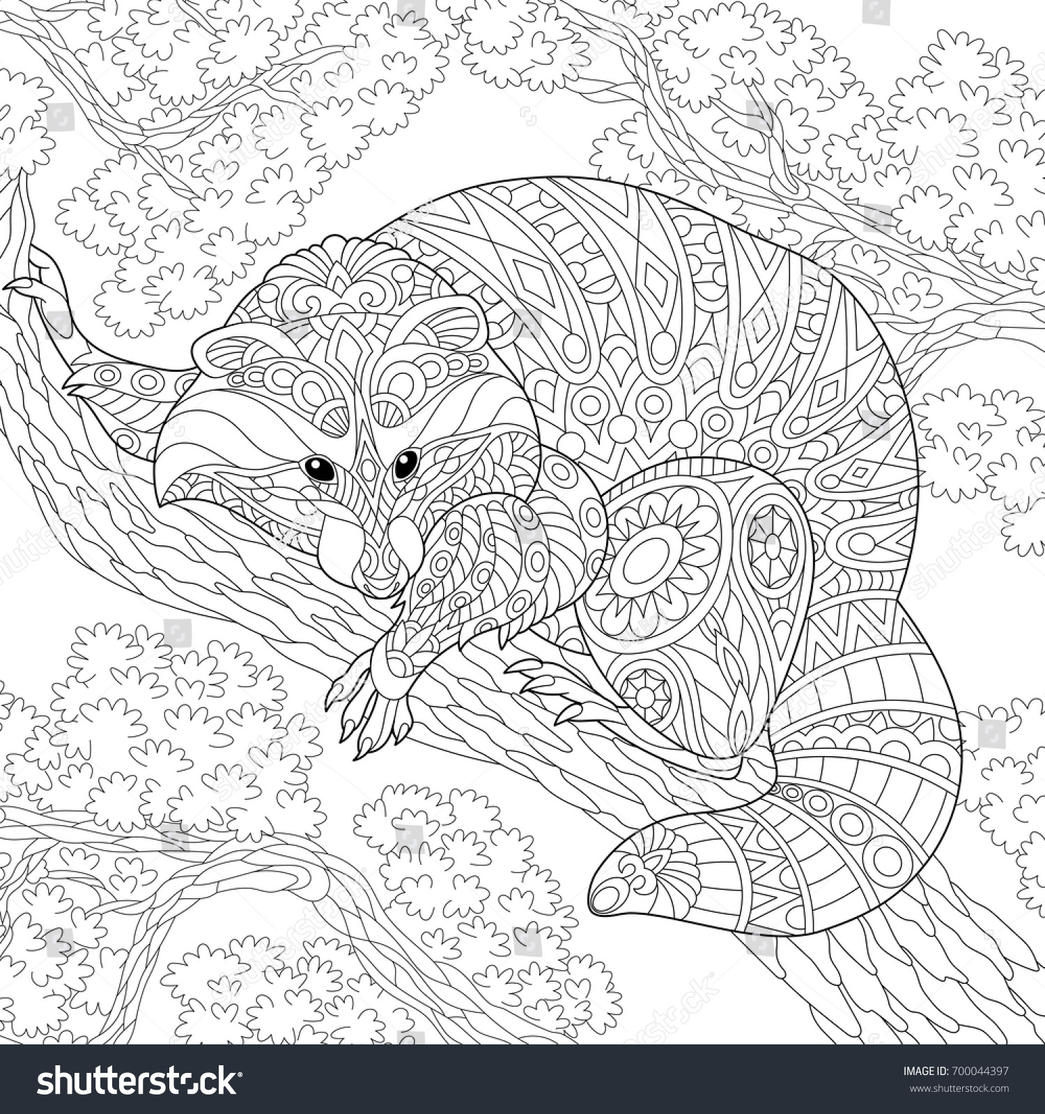 coloring page raccoon sitting on tree stock vector 700044397