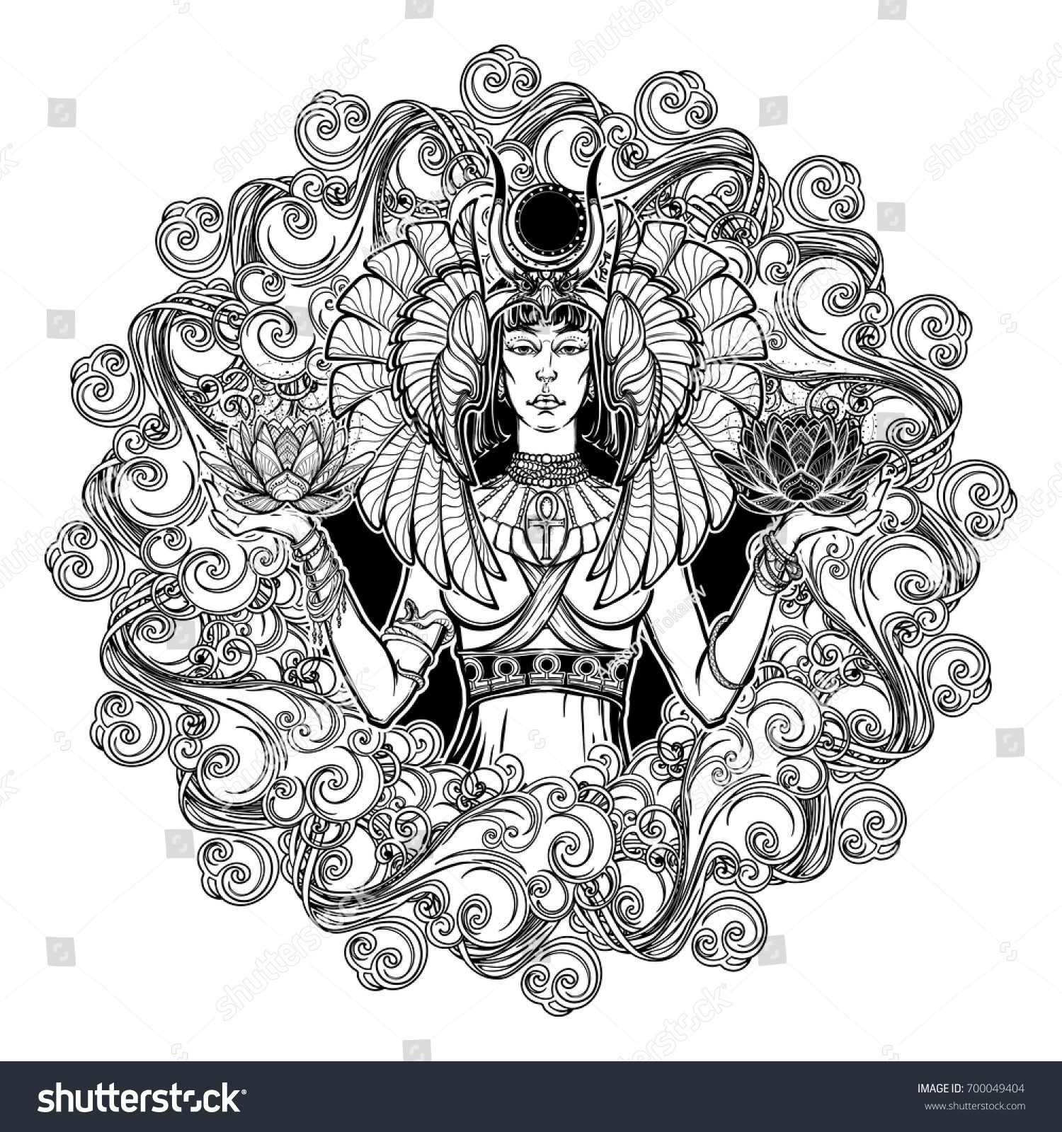 Zodiac sign libra egyptian goddess isis stock vector 700049404 zodiac sign libra egyptian goddess isis balancing in hands black and white lotus as a buycottarizona