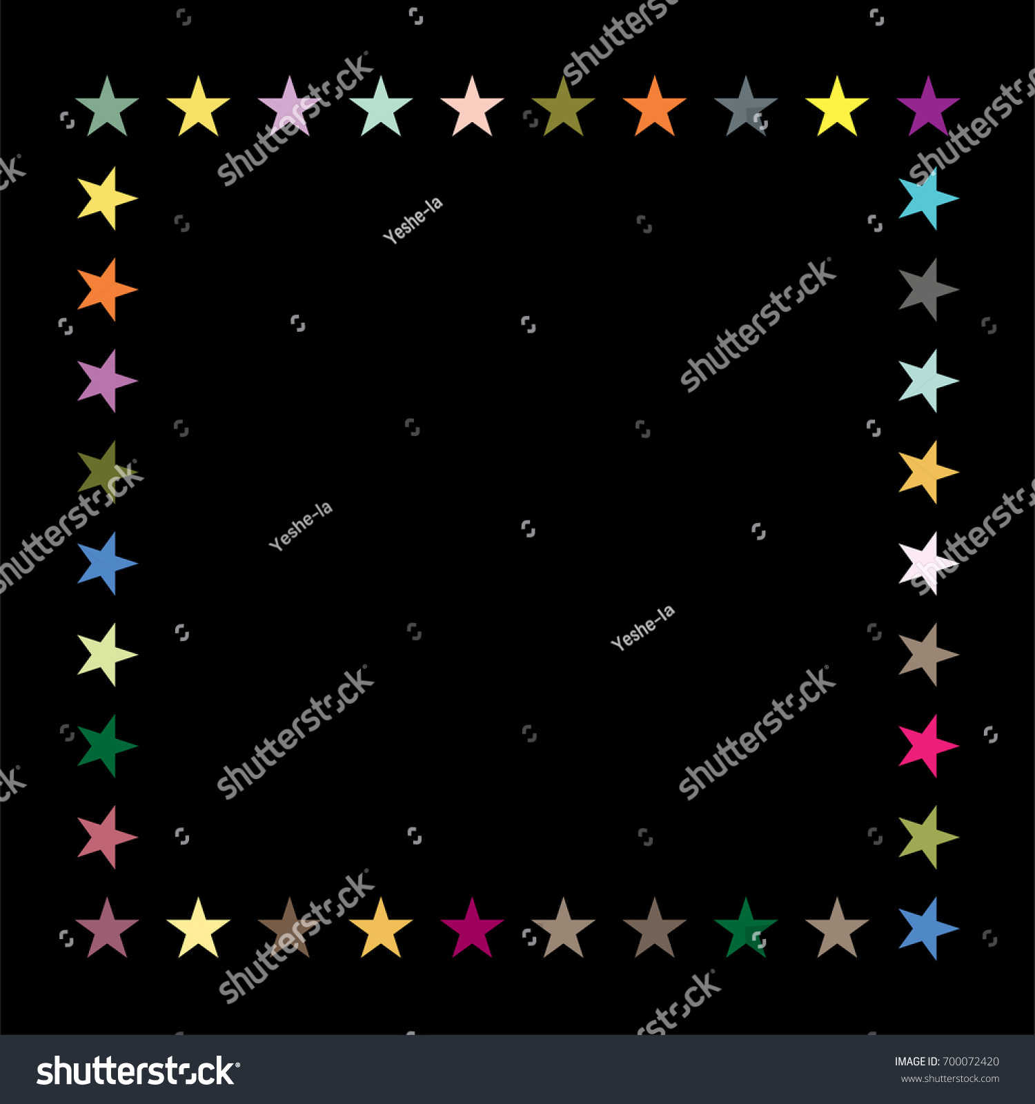 vector jolly starry border in rainbow colors on black shiny stars childrens design festive