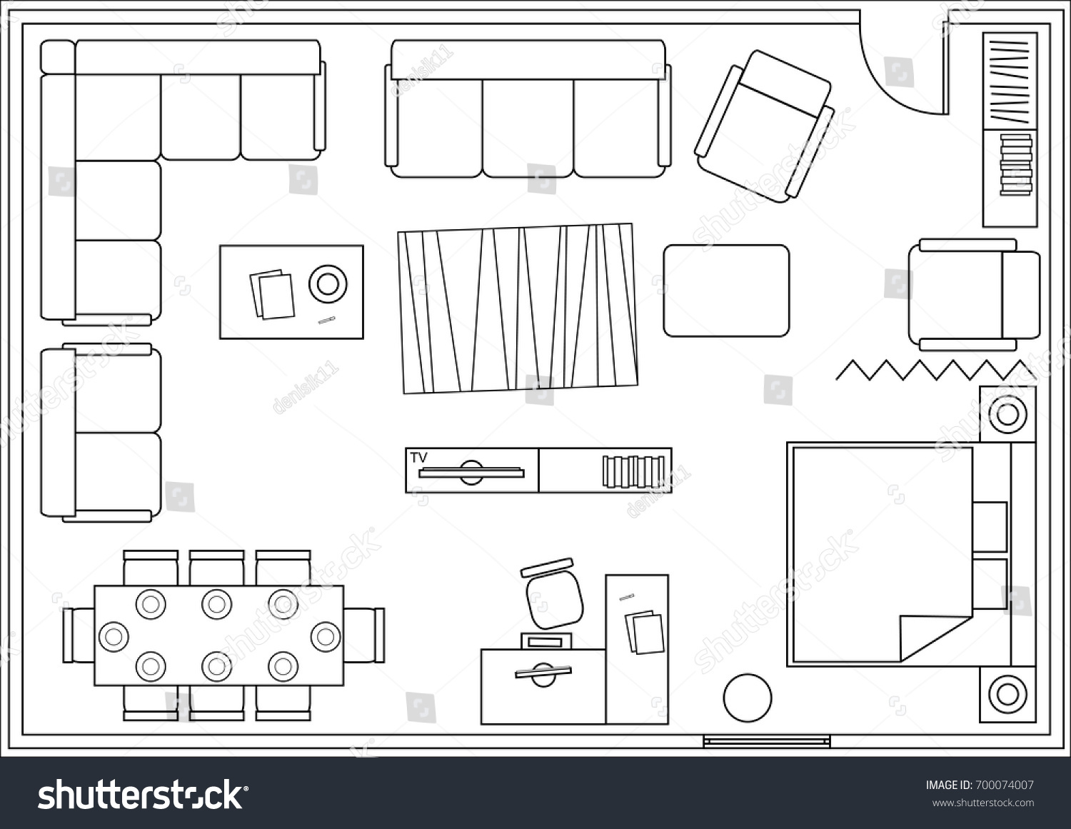 drawing furniture plans. Set Of Icons For Architectural Plans. Drawing Furniture Living Room,  Bedroom, Dining Room Drawing Plans Shutterstock