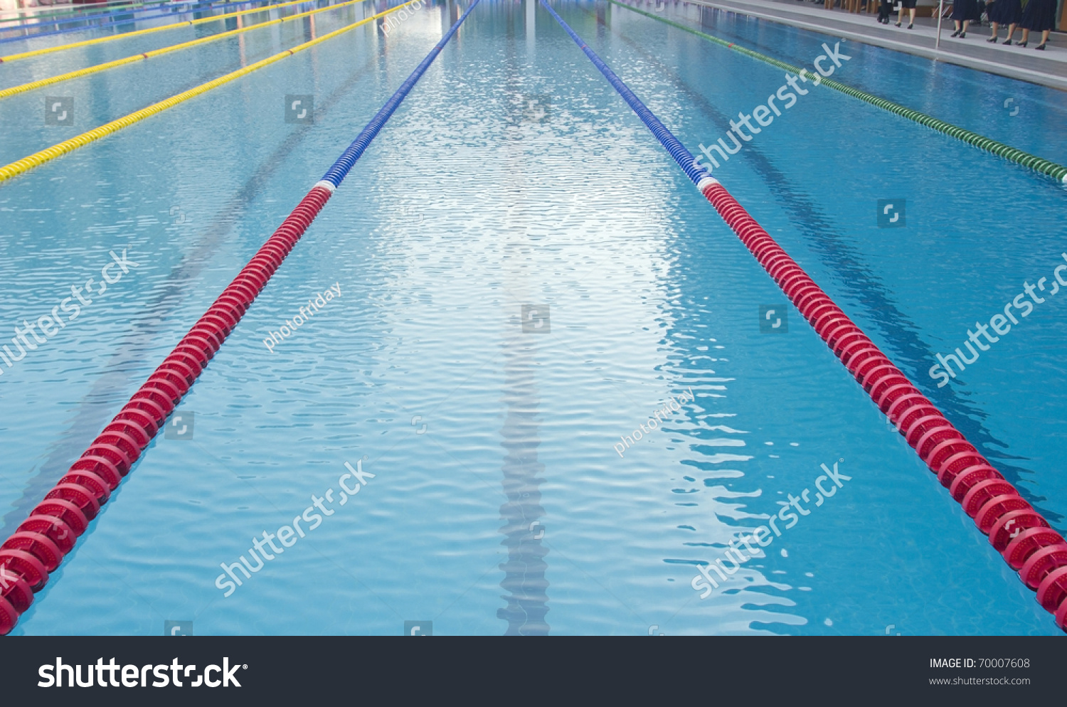 Outdoor Swimming Pool With Clearly Marked Lanes For Competitions Stock Photo 70007608