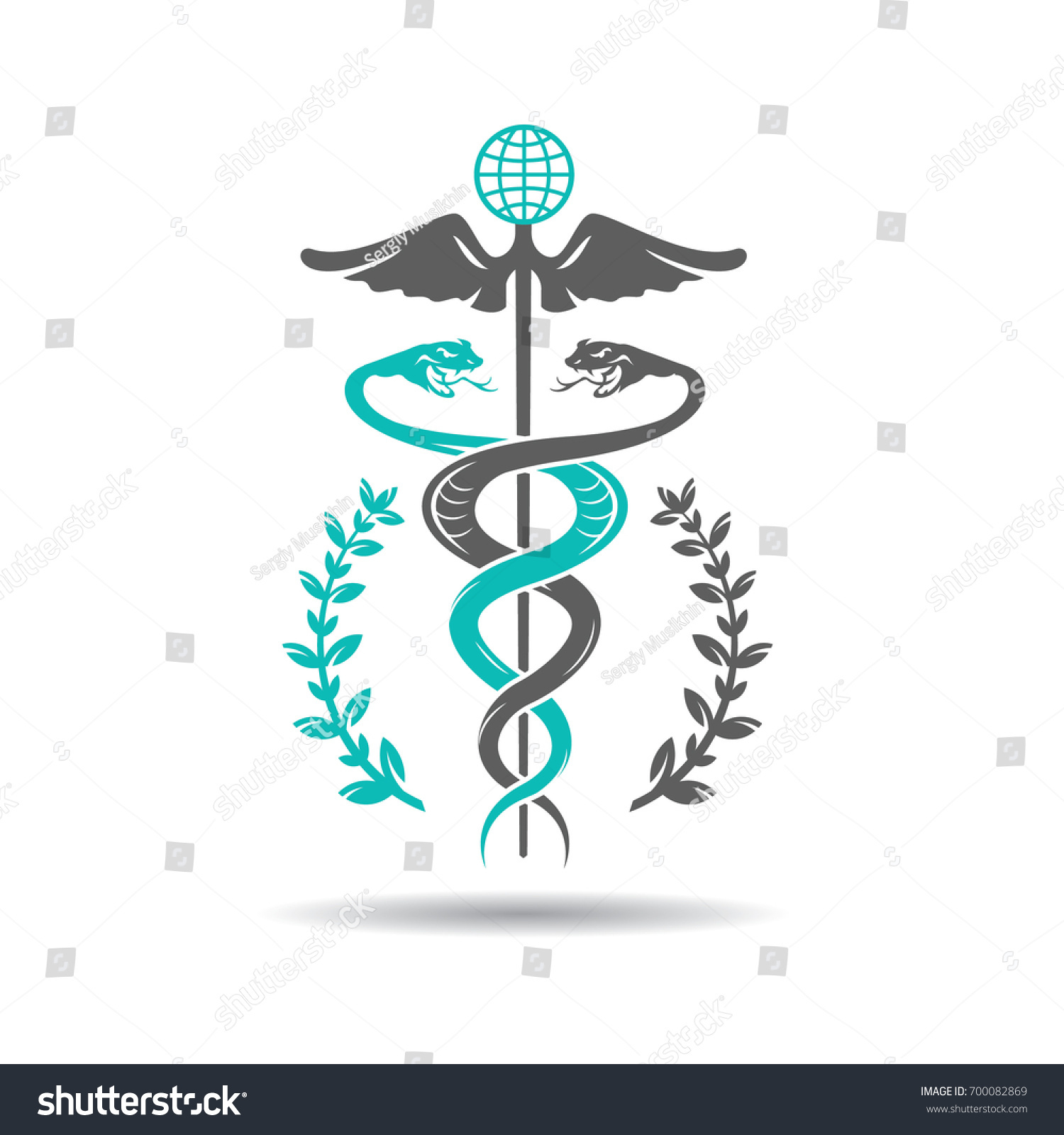Caduceus symbol two snakes intertwined around stock vector caduceus symbol of two snakes intertwined around a winged rod healing and medicine symbol biocorpaavc