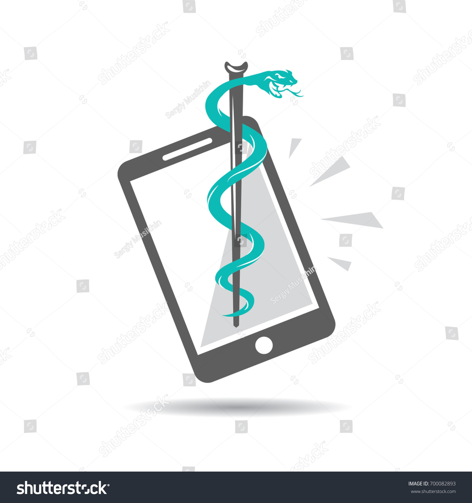 Caduceus symbol snake intertwined around rod stock vector caduceus symbol snake intertwined around a rod on a background of a mobile phone healing biocorpaavc