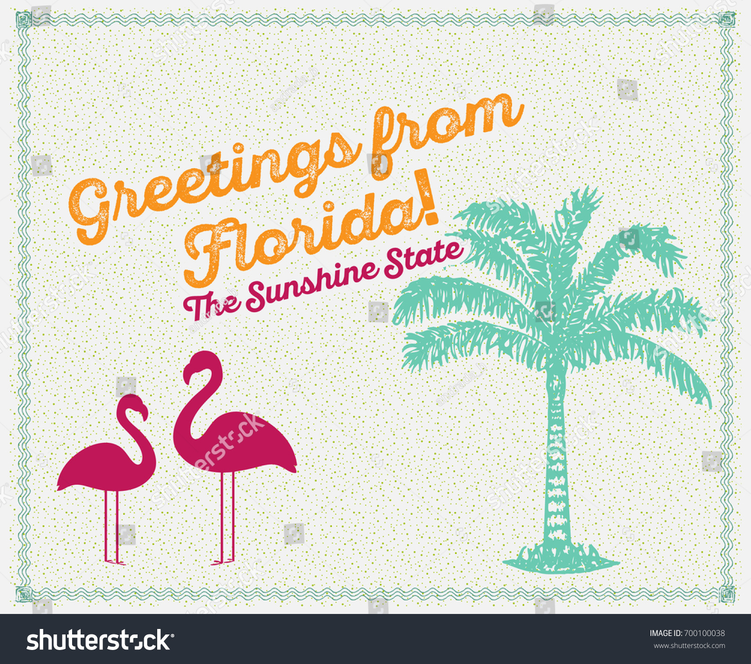 Greetings florida card poster sunshine state stock vector greetings from florida card poster sunshine state palm tree flamingo kristyandbryce Image collections