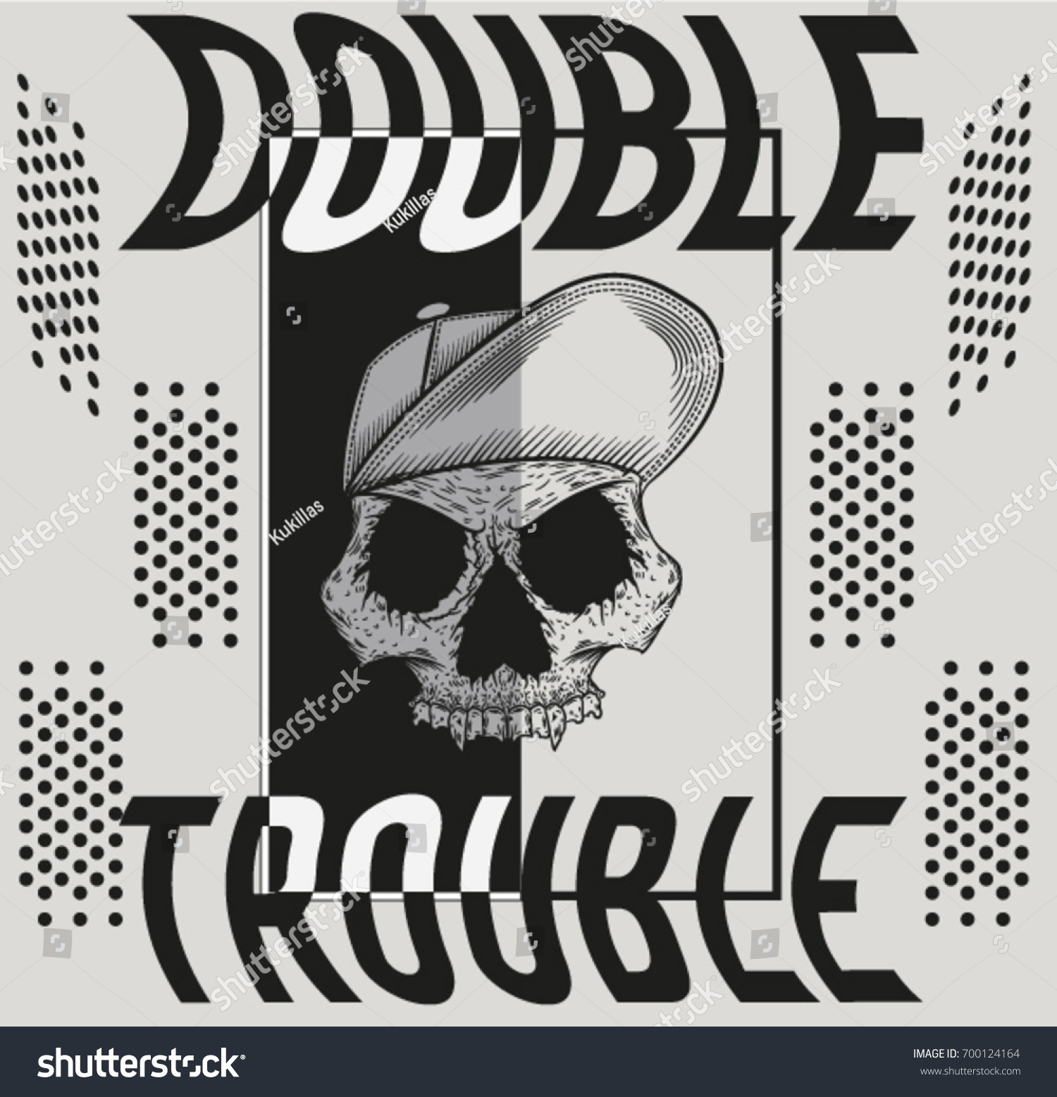 Illustration vector skull text double trouble stock vector illustration vector skull with text double trouble buycottarizona Images