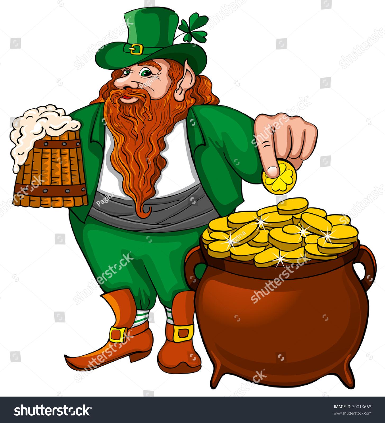 st patricks day leprechaun mug beer stock vector 70013668