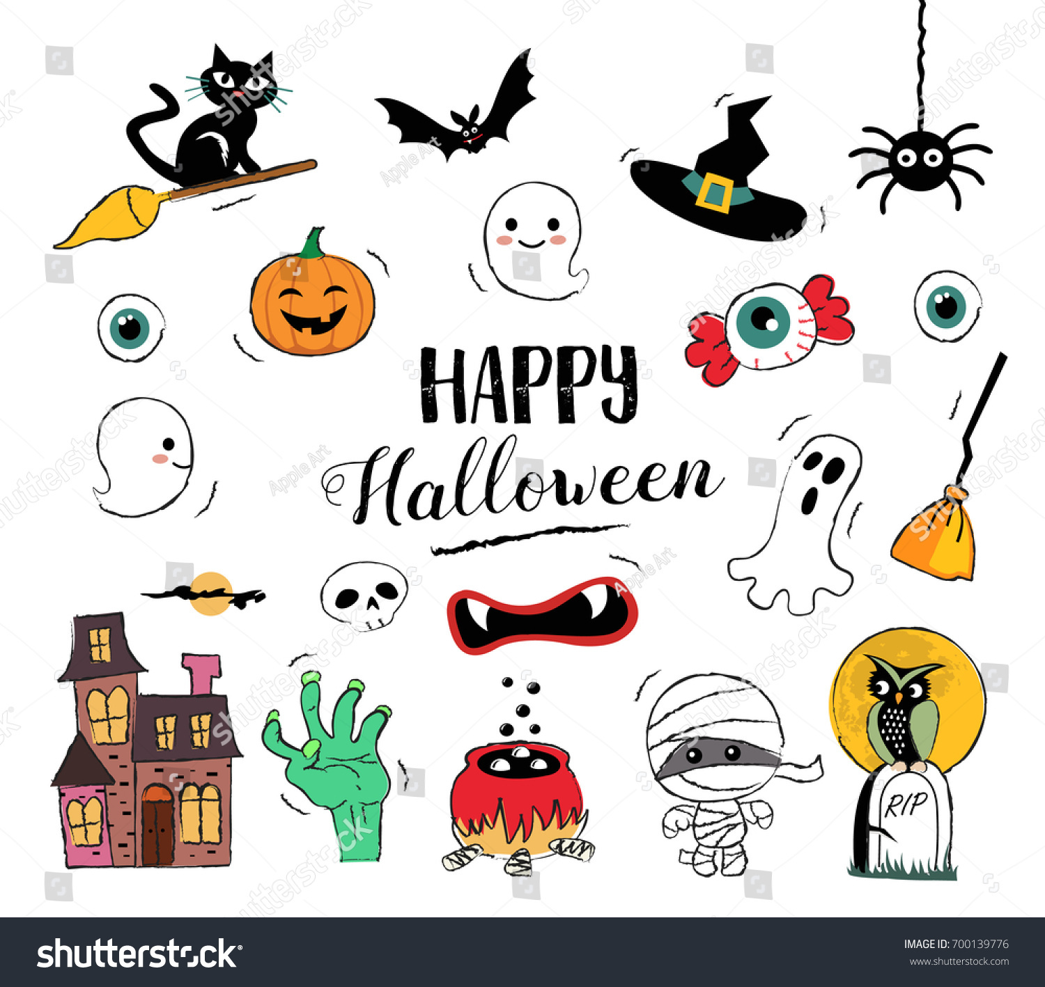 Merveilleux Happy Halloween Hand Drawn Illustrations And Elements. Halloween Design  Elements, Badges, Labels,