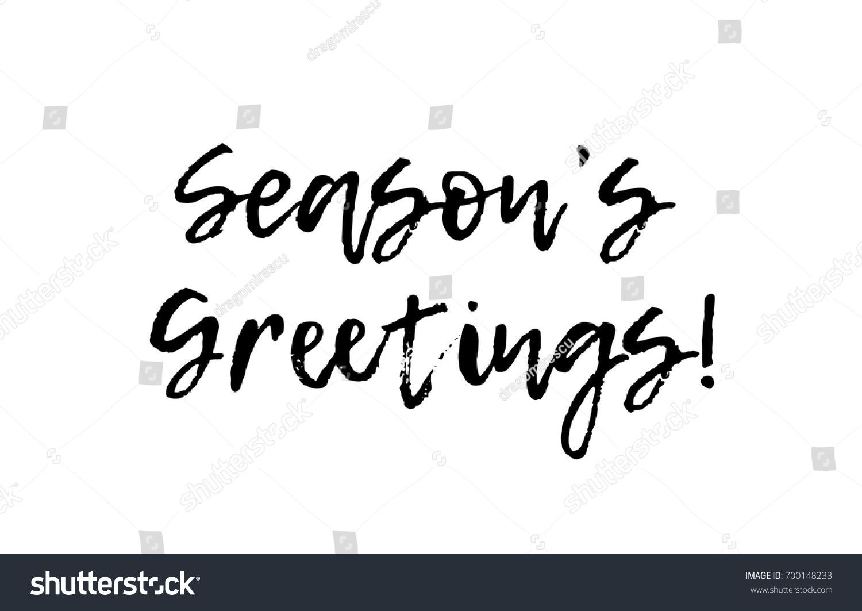 Seasons greetings black white text postcard stock vector royalty seasons greetings black white text postcard handwritten hand writing written brush calligraphy illustration typography design vector m4hsunfo