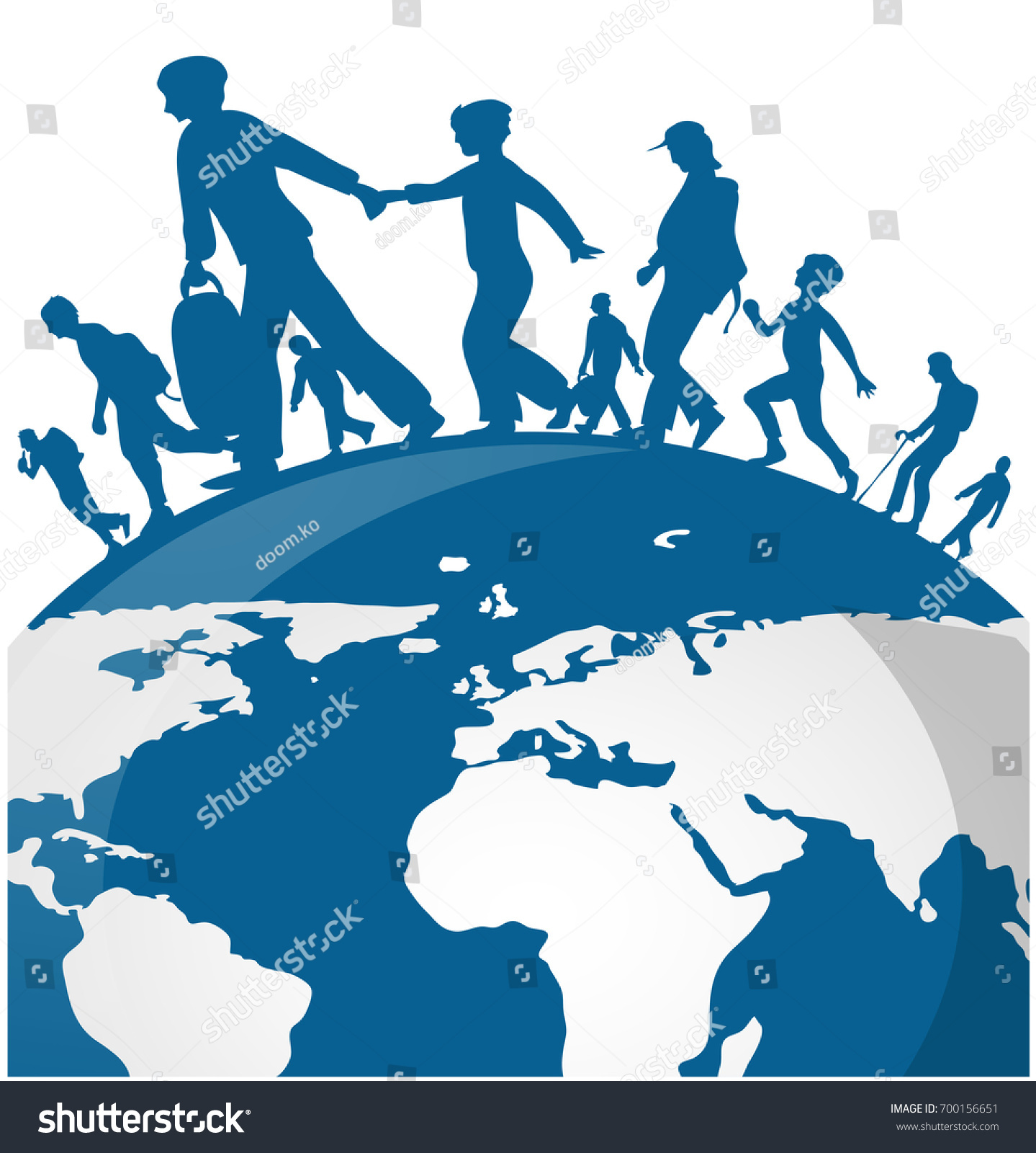 Immigration people on world map background vectores en stock immigration people on world map background gumiabroncs Choice Image