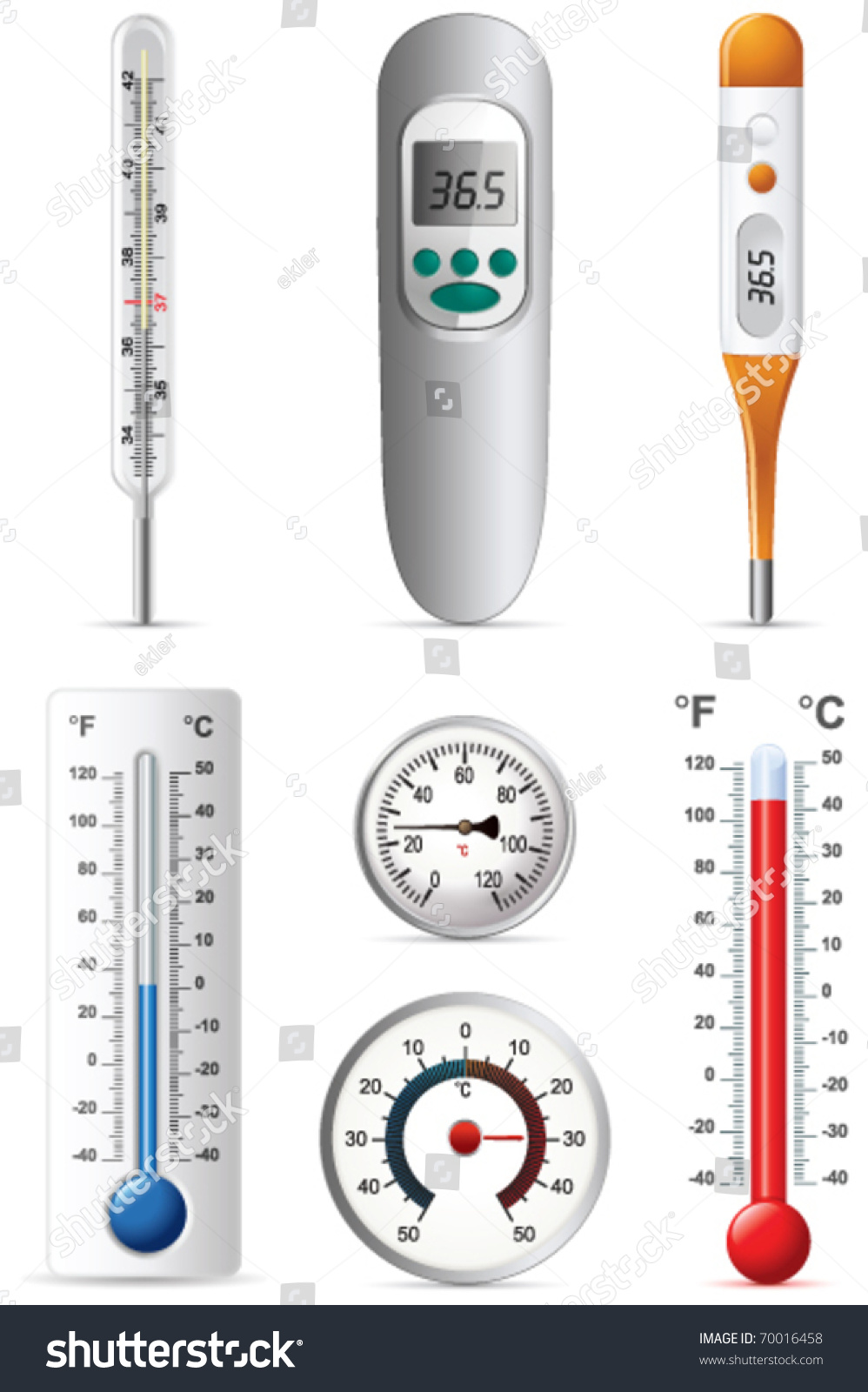6 Different Types Of Artificial Nails You Can Try: Six Different Types Thermometers Stock Vector 70016458