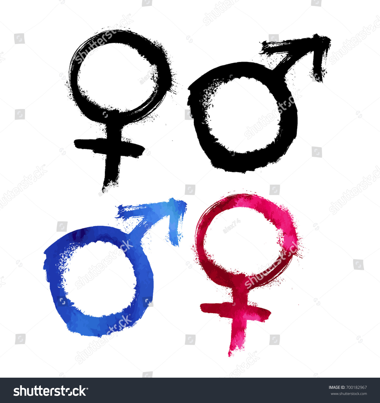 Grunge Gender Symbols Vector Design Element Stock Photo Photo