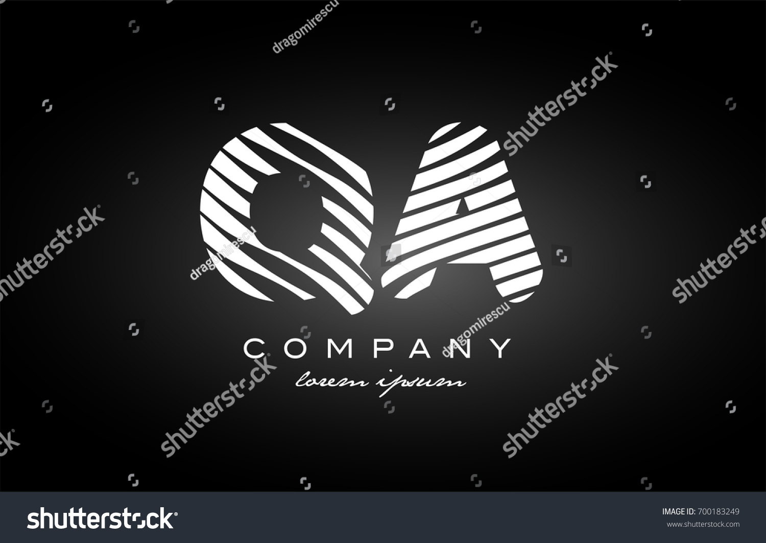 QA Q A letter logo combination black white alphabet vector creative company  icon design template modern