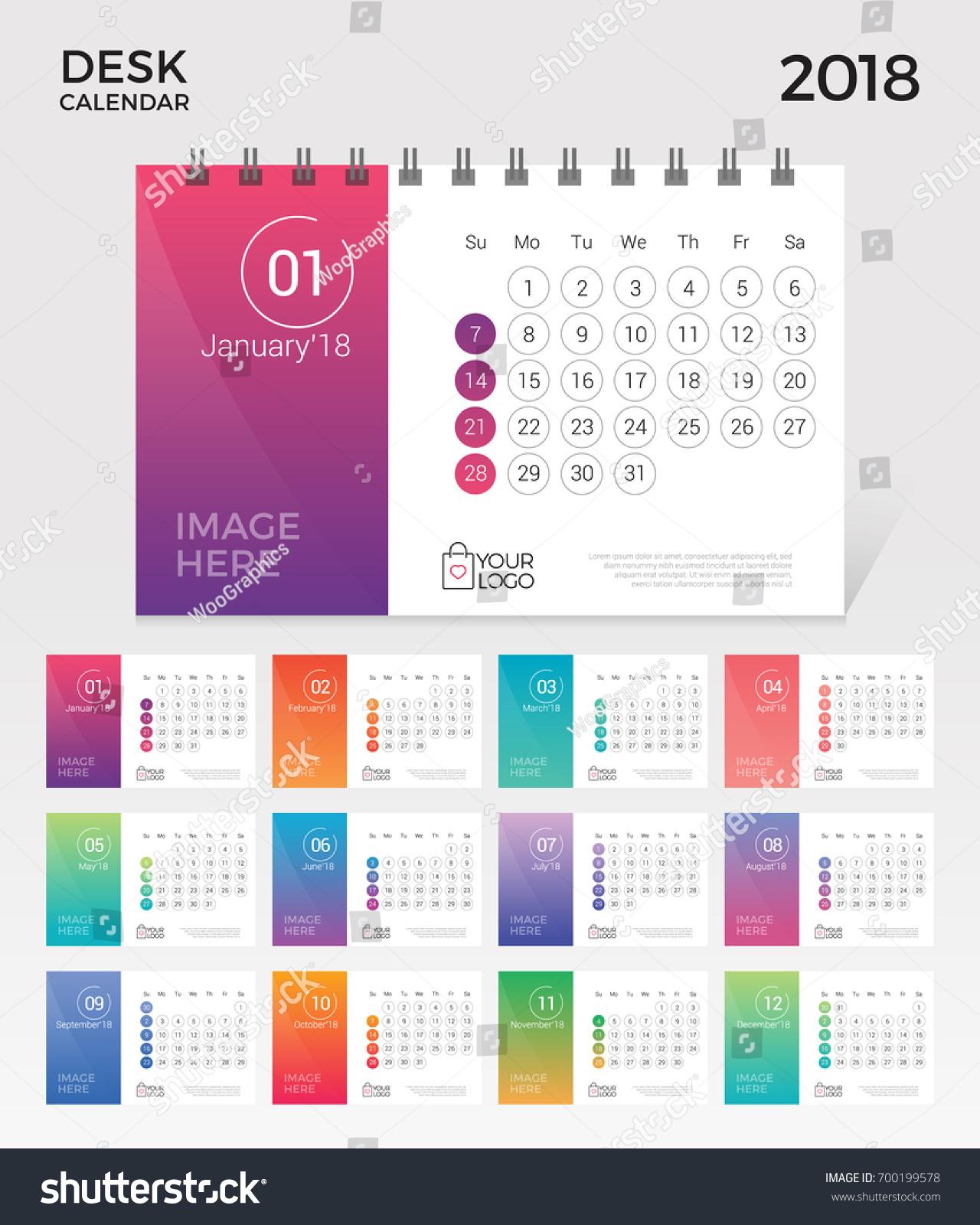 Elegant Desk Calendar Design : Desk calendar simple minimal elegant 스톡 벡터