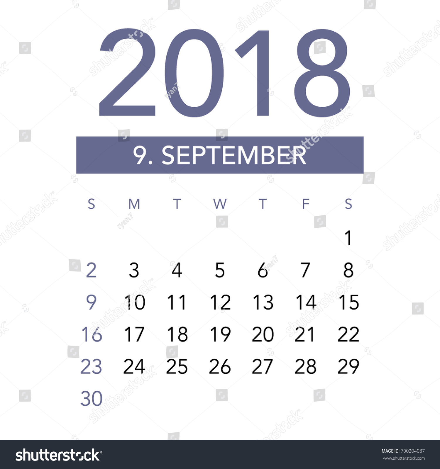 simple september 2018 calendar week starts from sunday