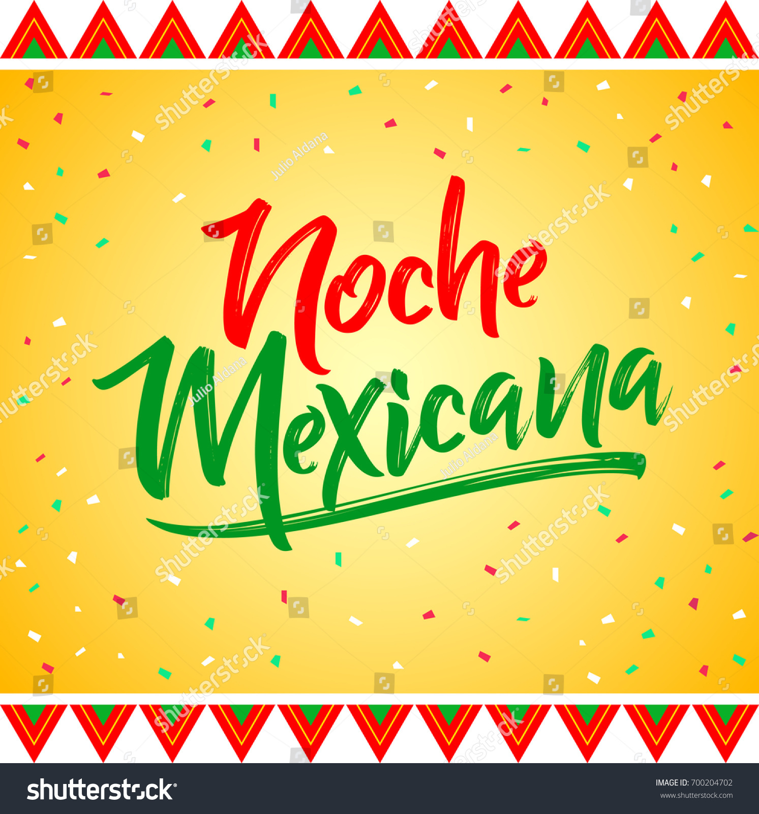 Noche Mexicana Mexican Night Spanish Text Stock Vector