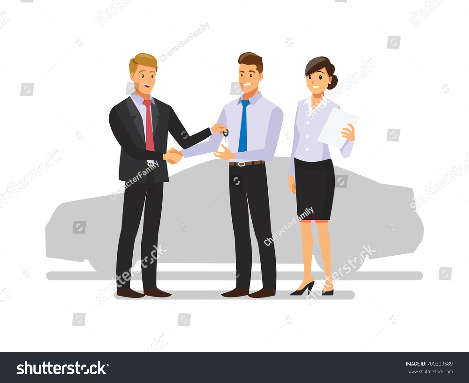 Business team cartoon characters cartoon vector cartoondealer com - Auto Business Car Sale Deal Dealer Giving Key To New Owner And Shaking