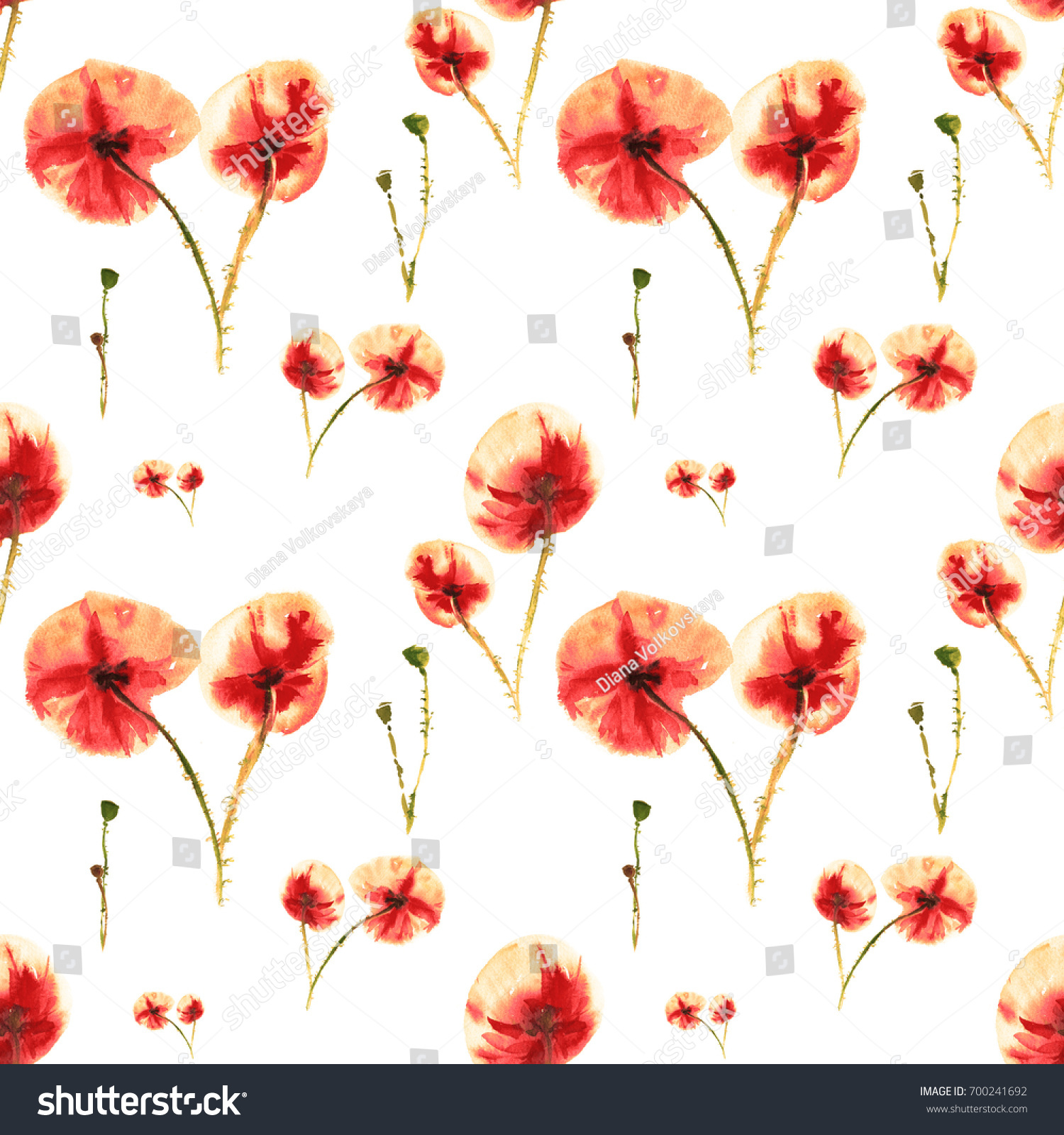 Seamless Red Orange Poppies Watercolor Painting Poppy Flower