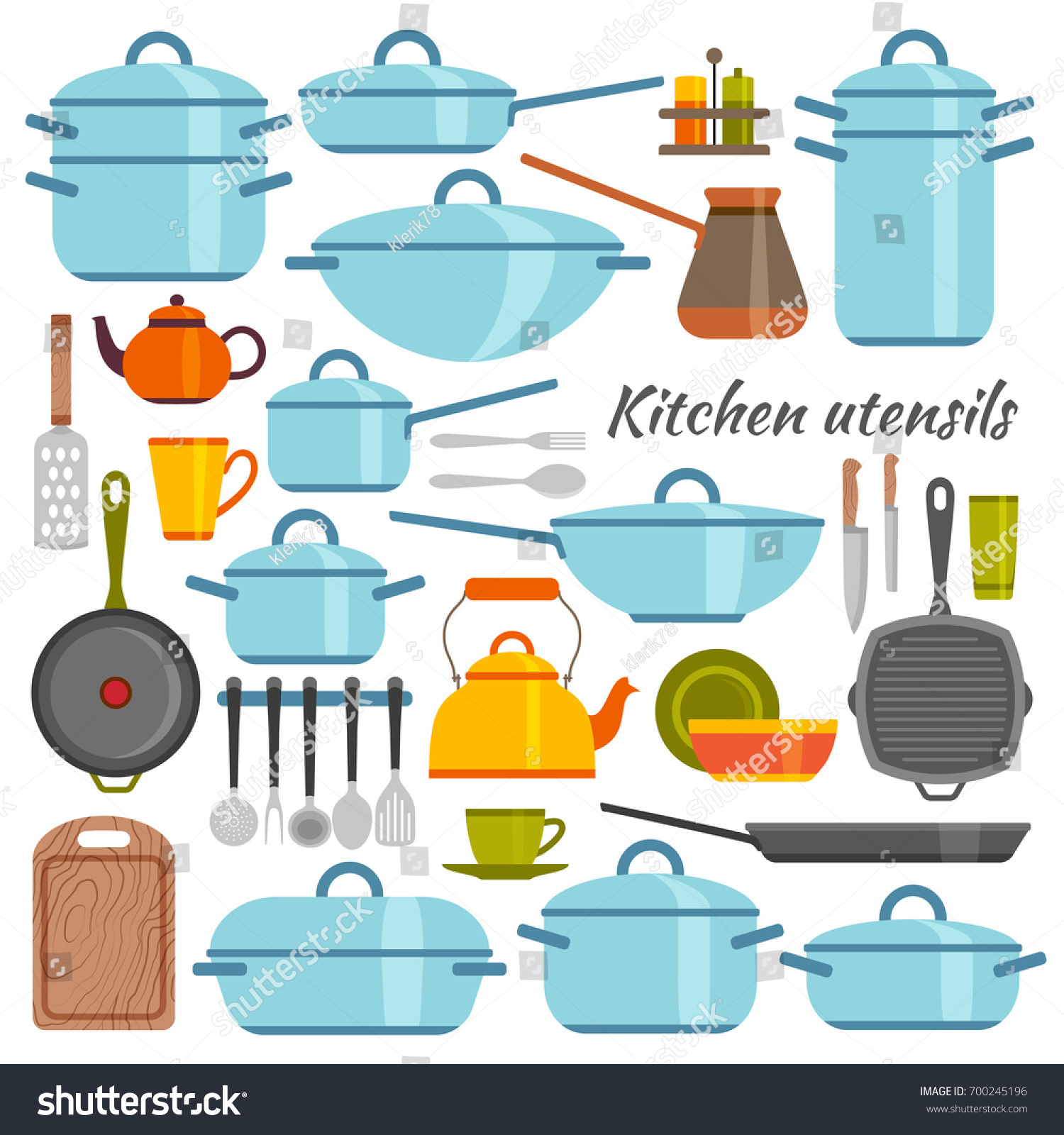 Kitchen Utensils Flat Icons Set Vector Stock Vector HD (Royalty Free ...