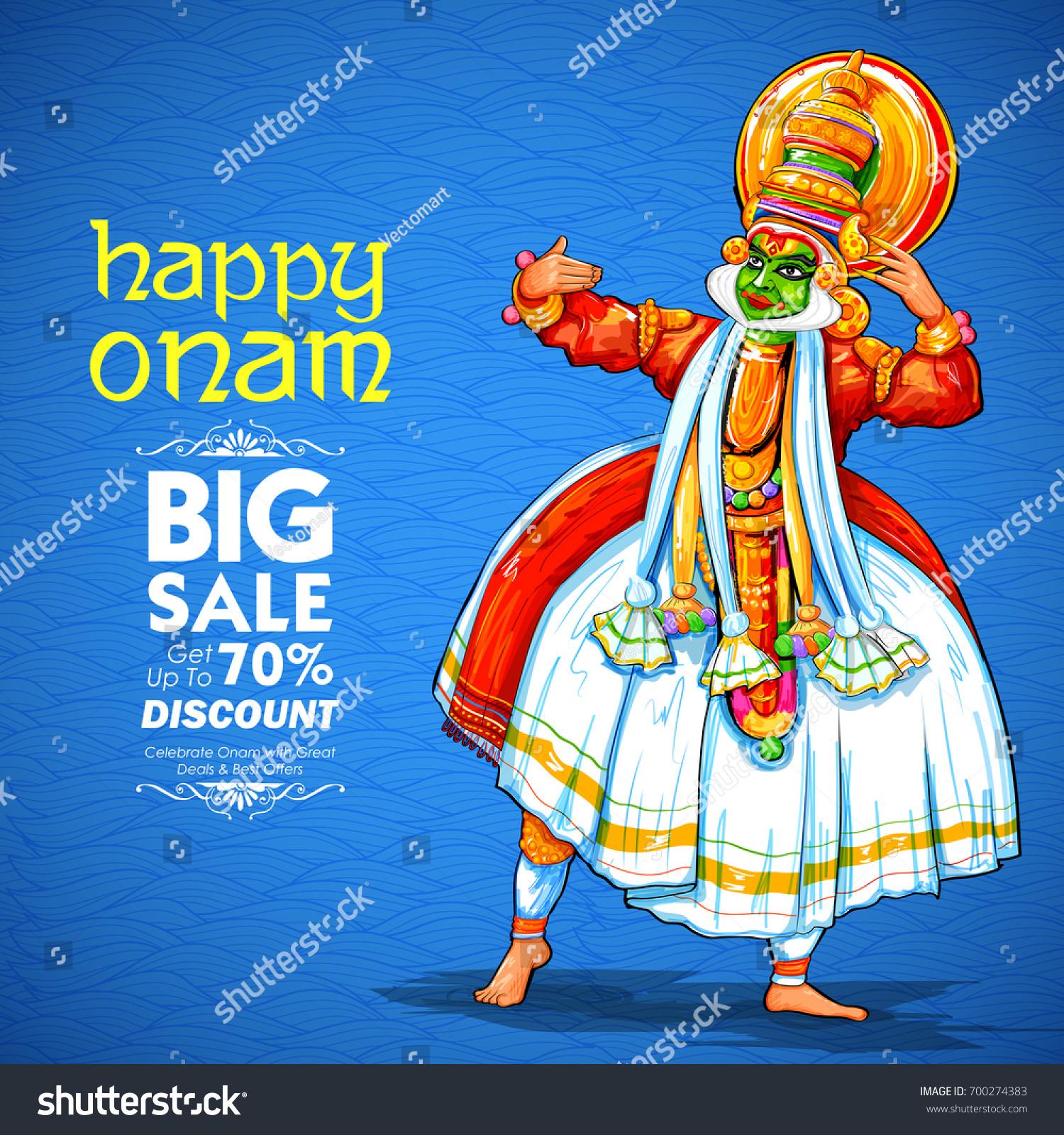 Illustration Colorful Kathakali Dancer On Advertisement