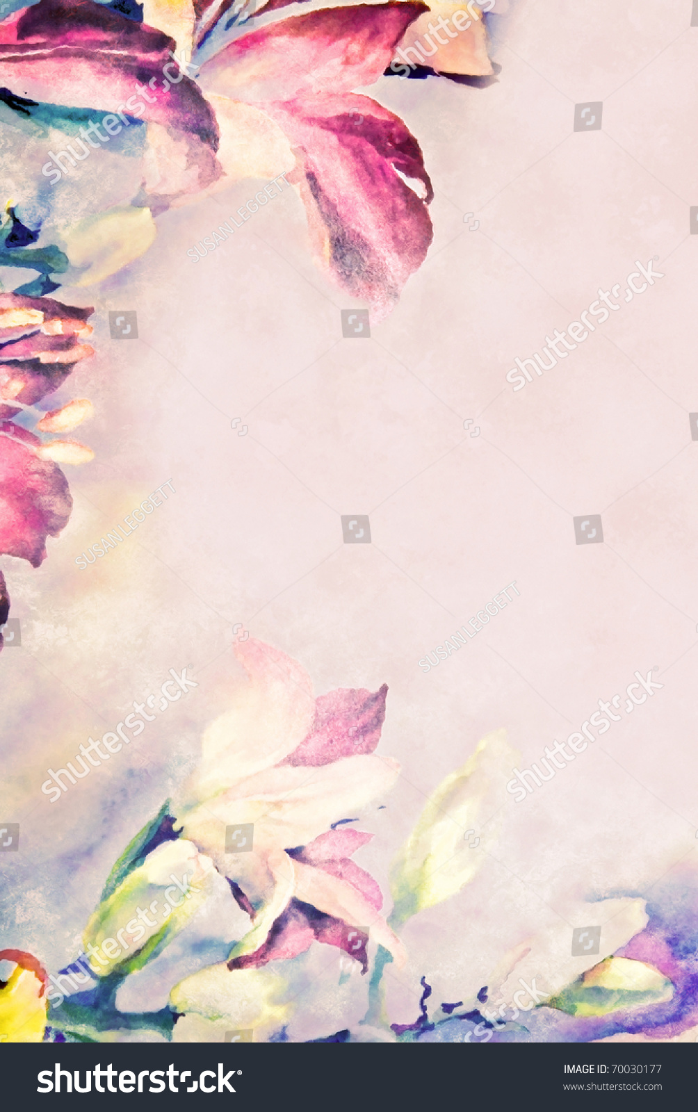 Pastel Flowered Border On Paper Stock Photo Royalty Free 70030177
