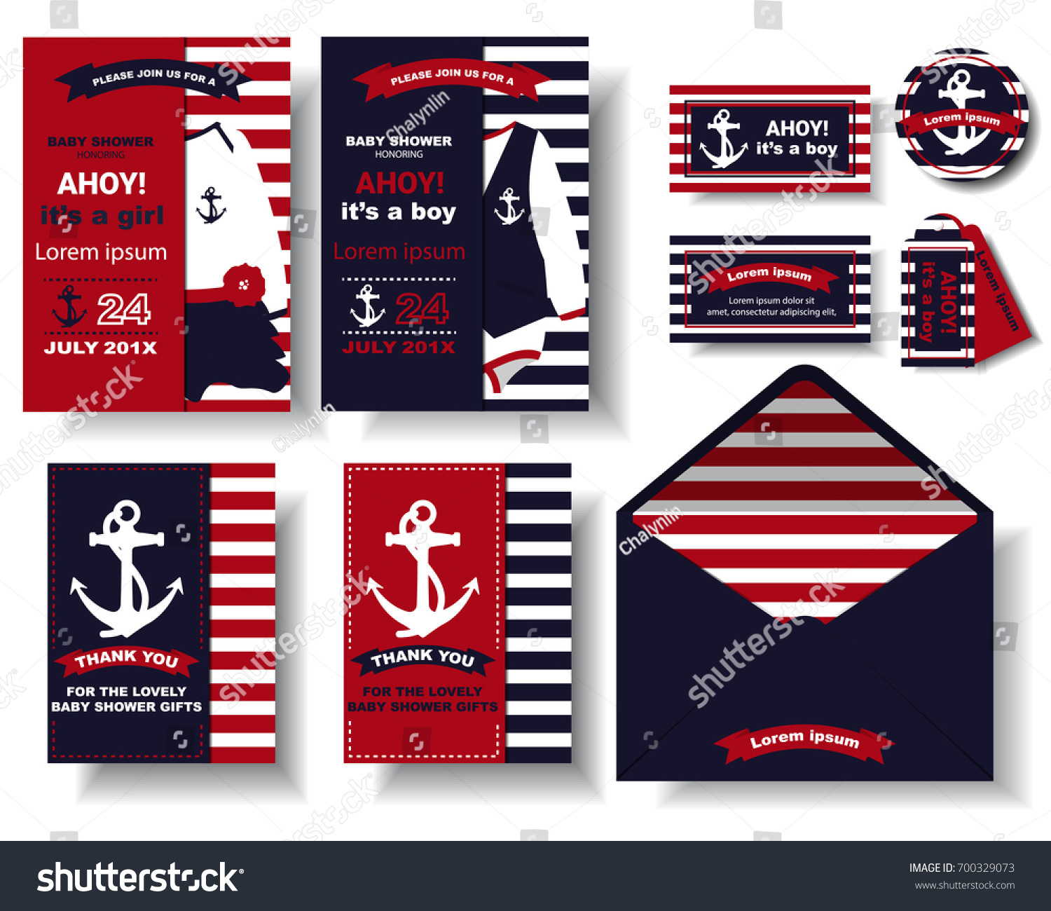 Set Nautical Baby Shower Party Invitation Stock Vector (Royalty Free ...