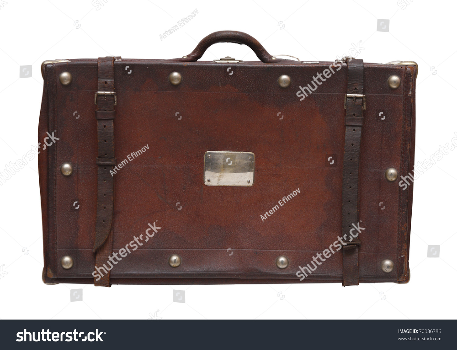 Oldfashioned Suitcase Made Brown Leather Leather Stock Photo ...