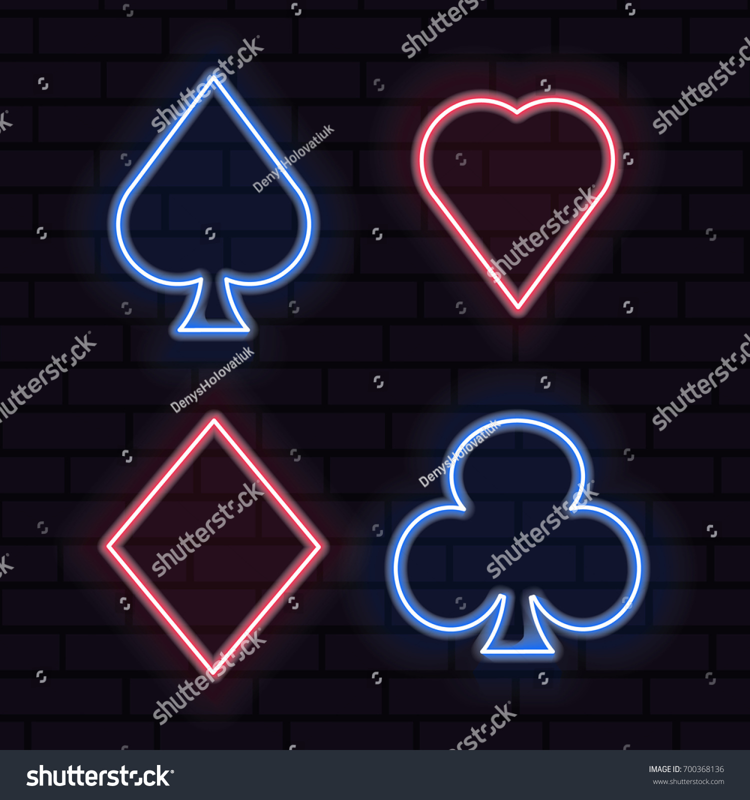 Set neon playing card symbols light stock vector 700368136 set of neon playing card symbols light banners bright emblems realistic playing cards biocorpaavc