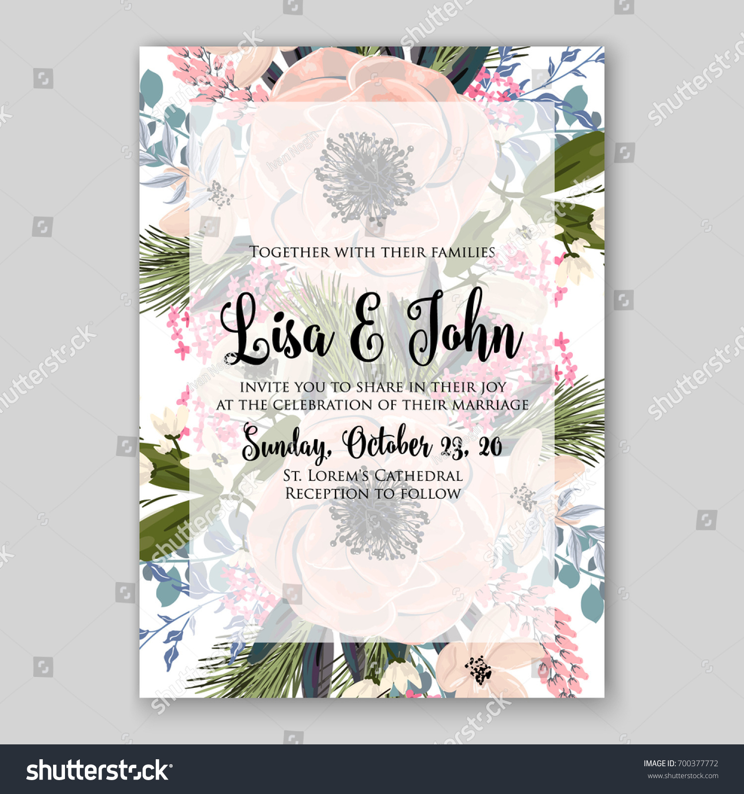 Wedding Invitation Template Floral Ornament Peony Stock Vector (2018 ...