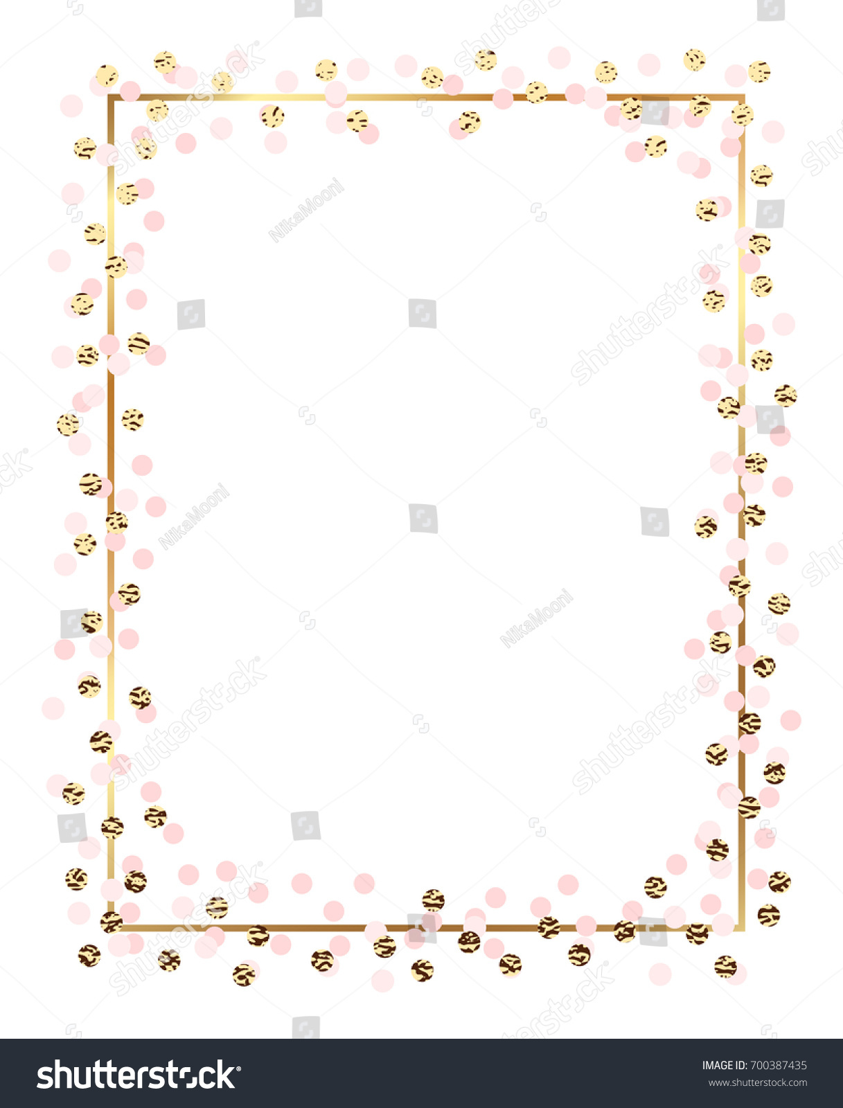 Pink Gold New Year Border Merry Christmas And Happy
