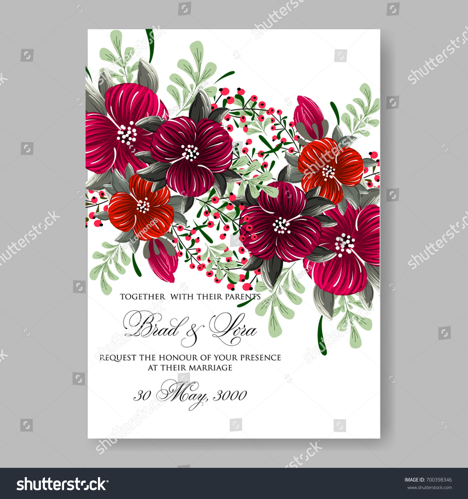 Wedding Invitation Peony Rose Rununculus Anemone Stock Vector ...