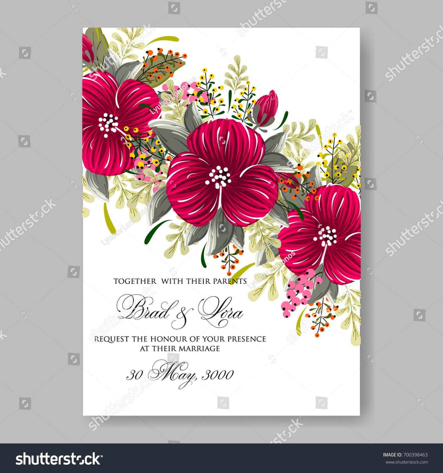 Pink Hibiscus Tropical Flower Wedding Invitation | EZ Canvas