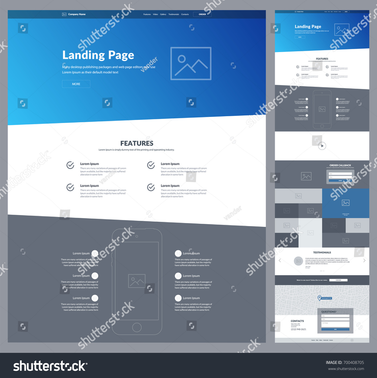 one page website design template businessのベクター画像素材
