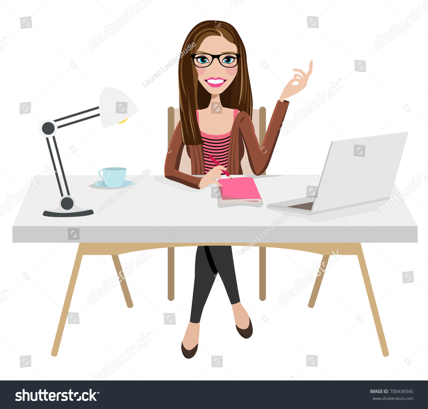 writer home office blogger work home stock vector  writer home office blogger work from home desk laptop creative journalist copywriter brunette glasses female w