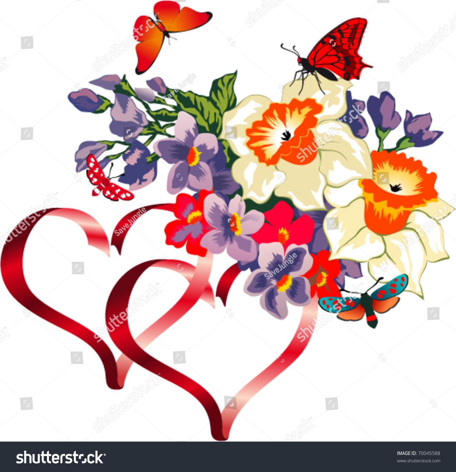 Vector Butterflies On Bouquet Flowers Hearts Stock Vector ...