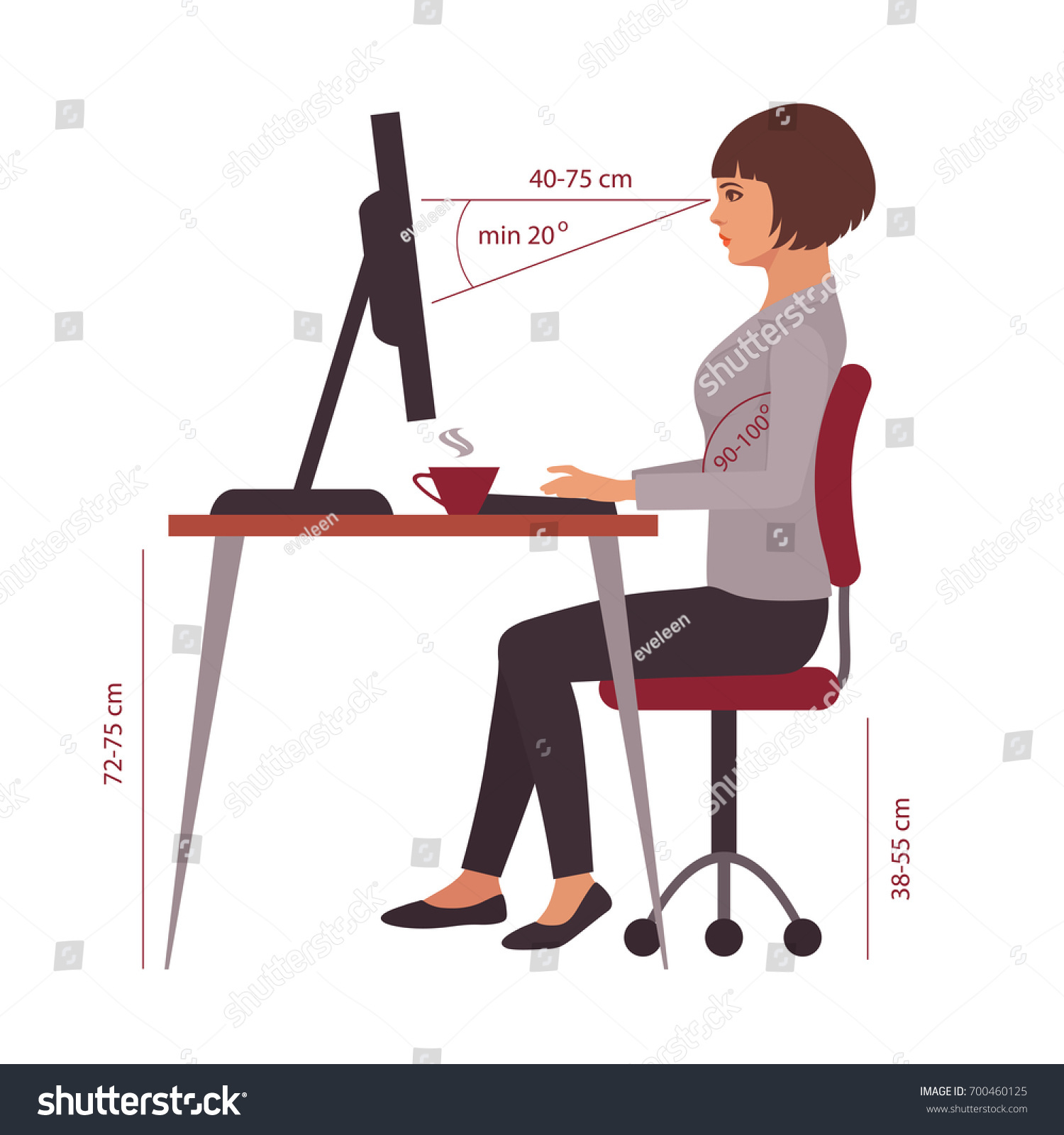Correct Sitting Position Office Desk Posture Stock Vector